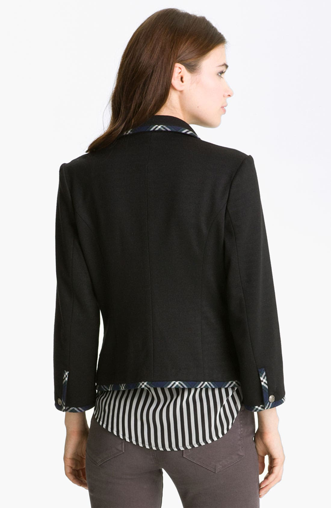 Alternate Image 2  - Gibson Preppy Plaid Trim Blazer (Petite)