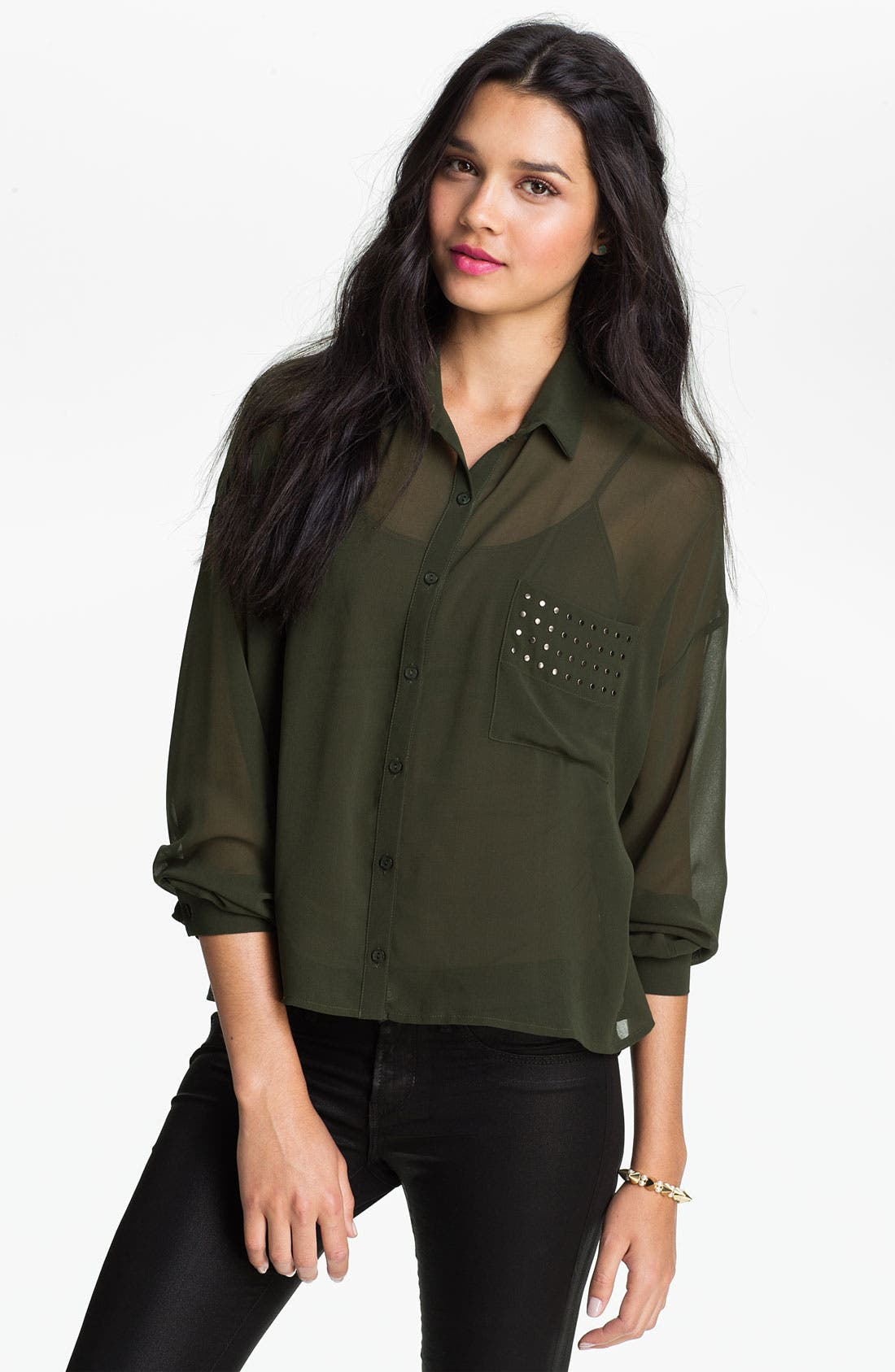 Alternate Image 1 Selected - Elodie Studded Chiffon Shirt (Juniors)