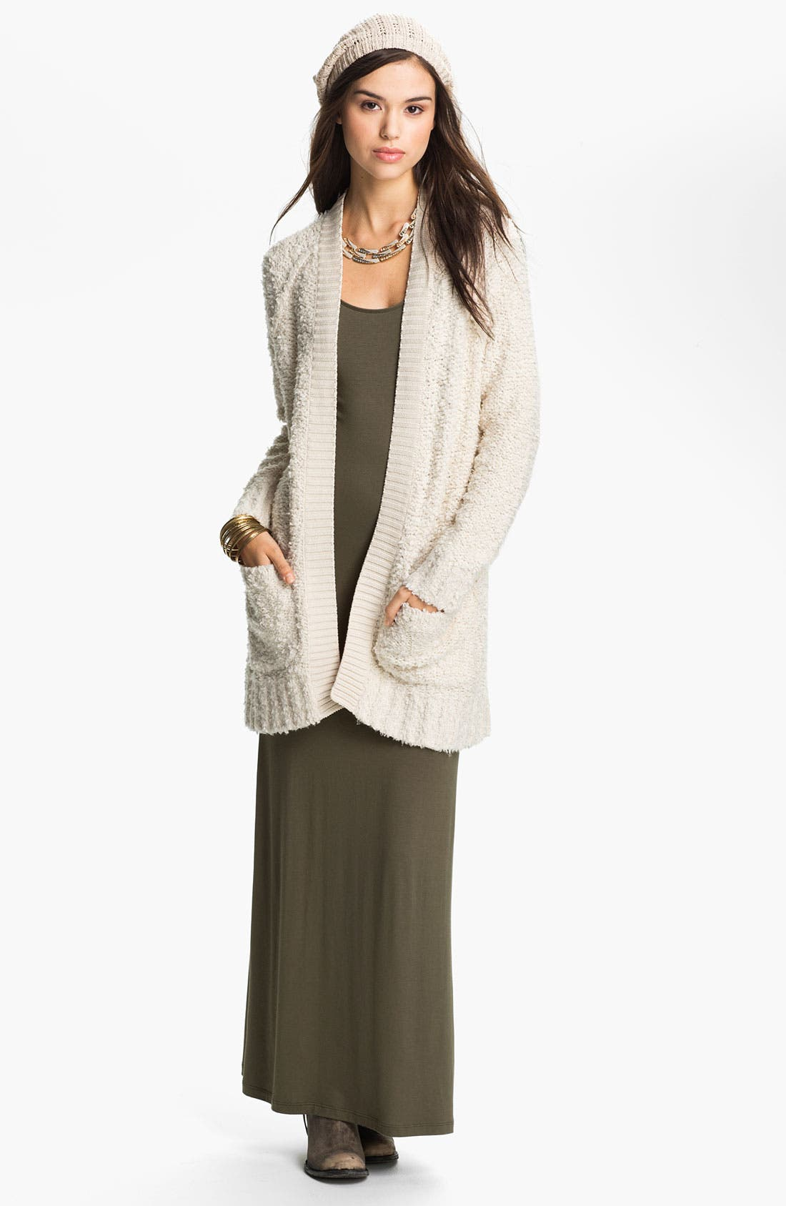 Main Image - Rubbish® Bouclé Oversized Cardigan (Juniors)