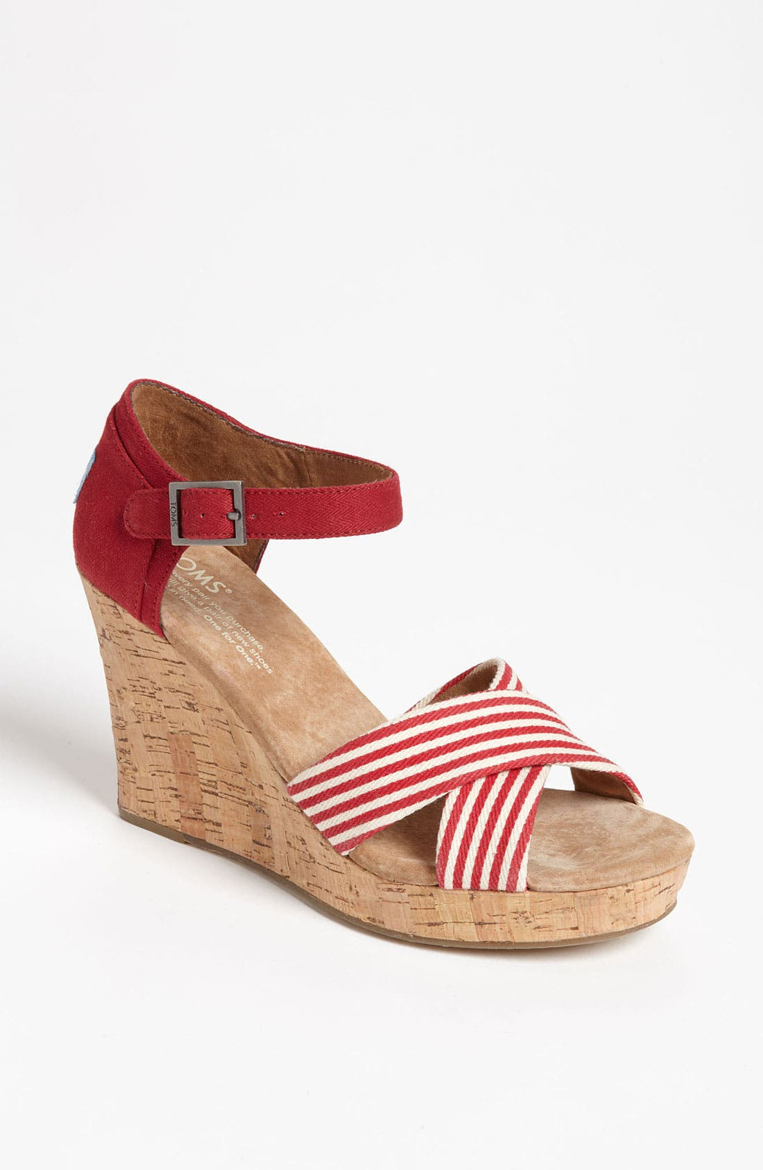 Alternate Image 1 Selected - TOMS 'University Stripe' Wedge Sandal