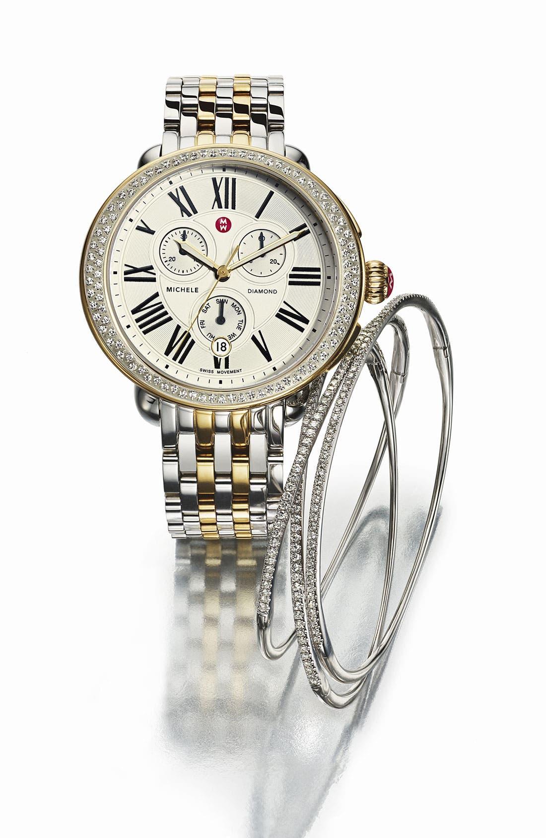 Alternate Image 1 Selected - MICHELE 'Serein' Diamond Two-Tone Watch Case & 18mm Bracelet