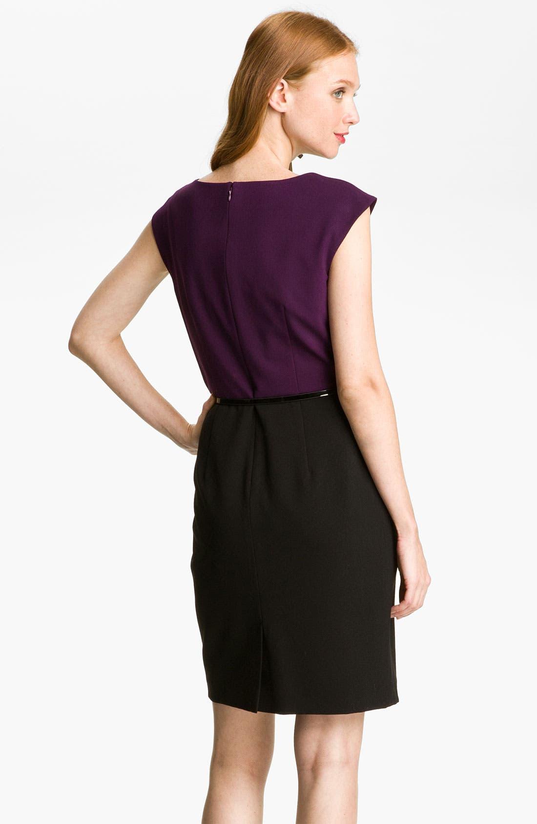 Alternate Image 2  - Calvin Klein Colorblock Belted Sheath Dress (Petite)