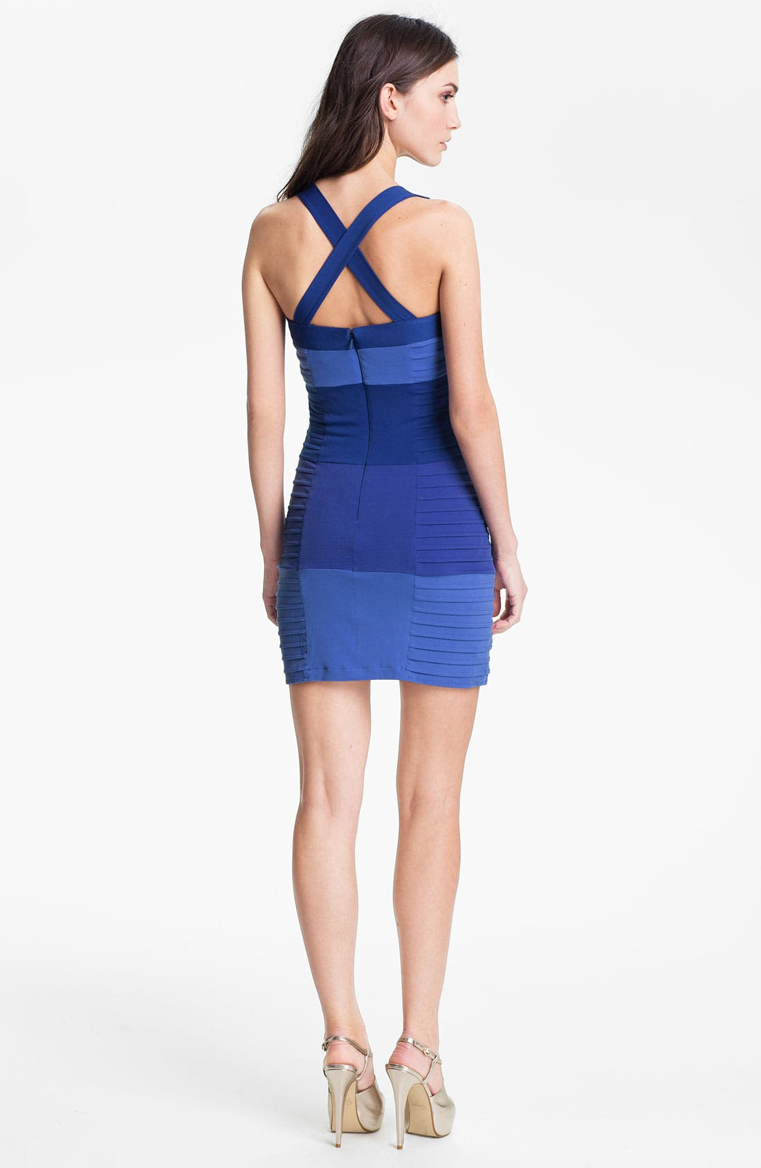 Alternate Image 2  - Max & Cleo Pleated Colorblock Jersey Sheath Dress