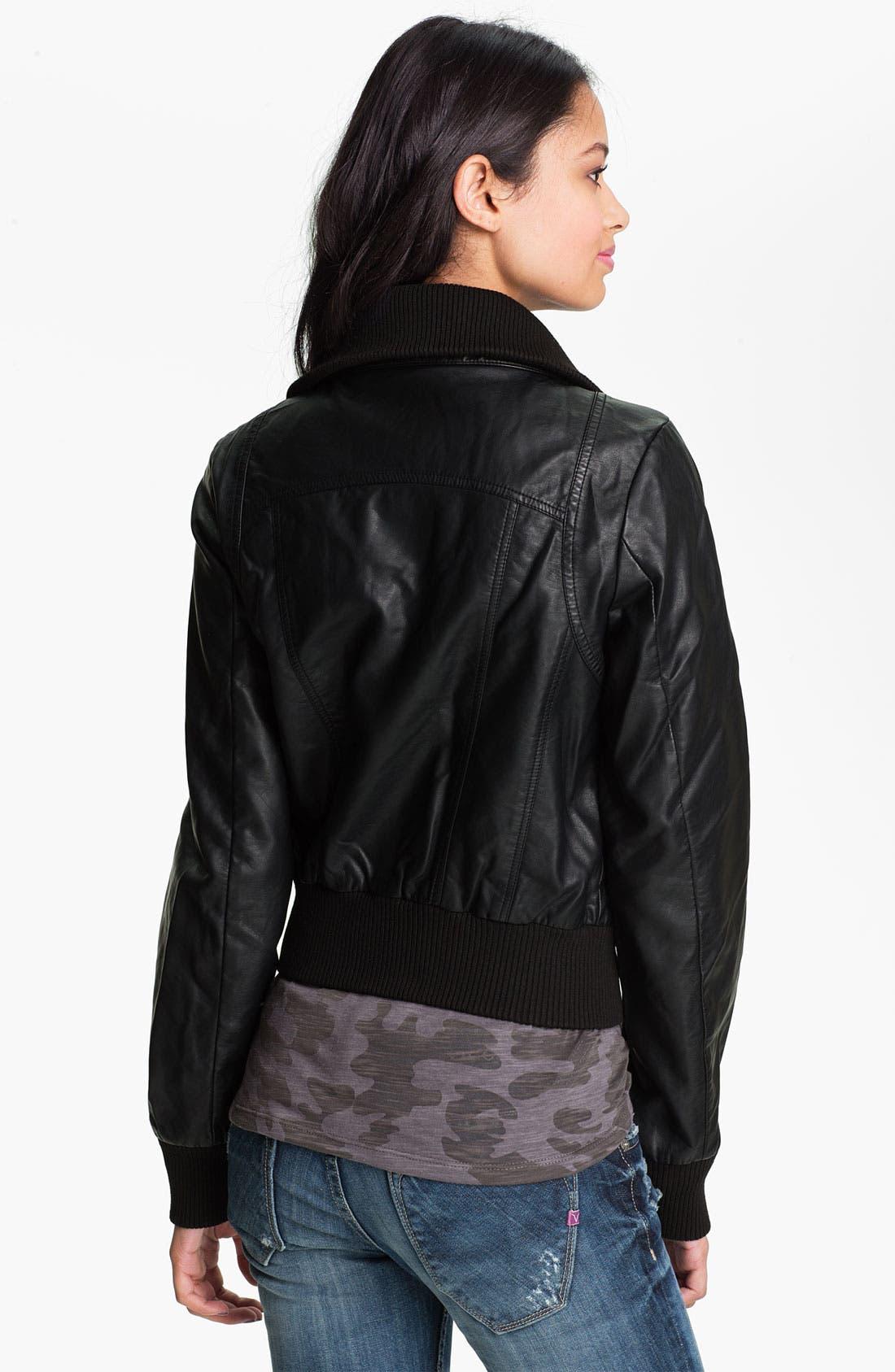 Alternate Image 2  - Thread & Supply Faux Leather Bomber Jacket (Juniors)