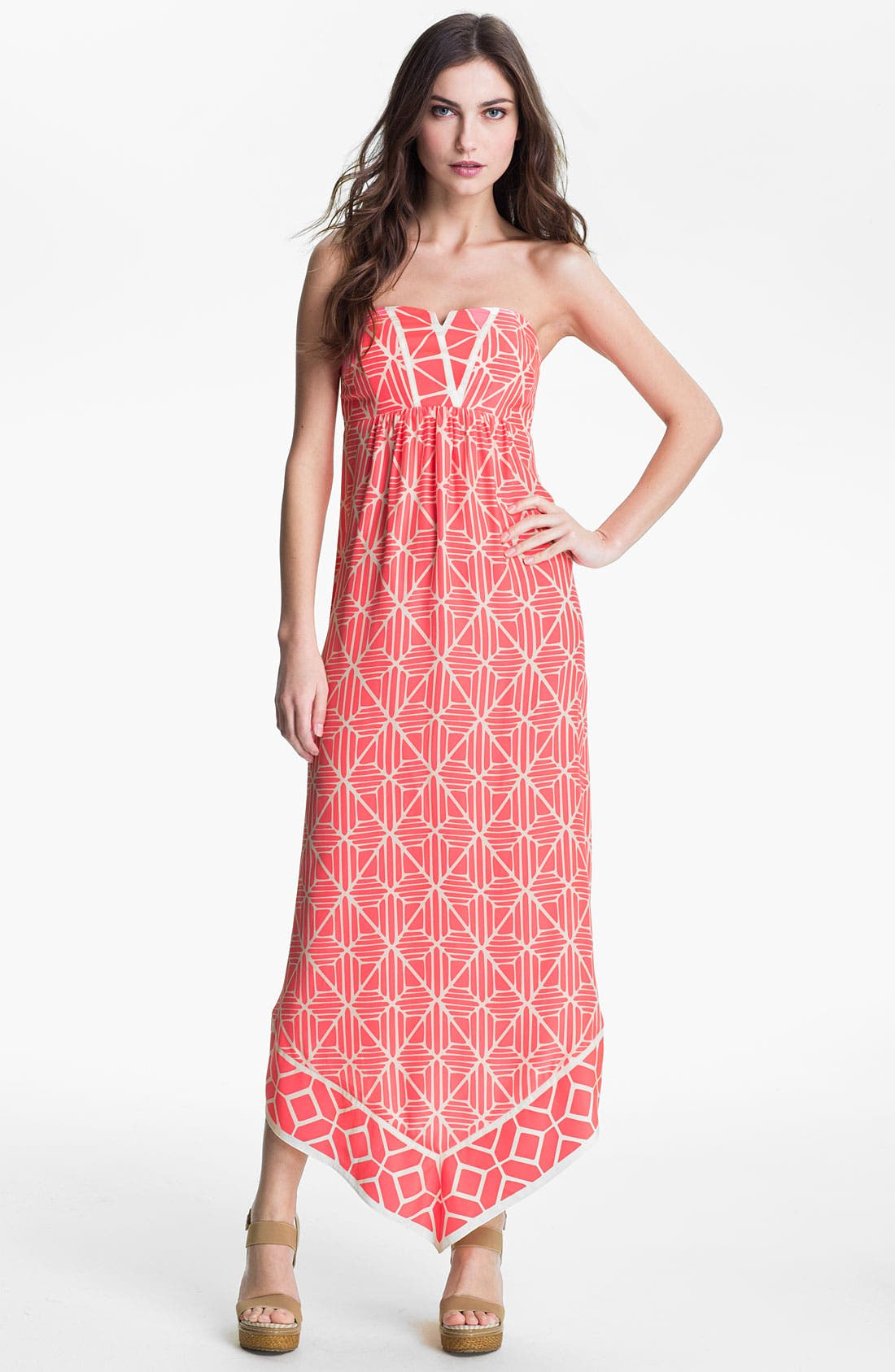 Main Image - ALICE & TRIXIE 'Olivia' Strapless Printed Silk Maxi Dress