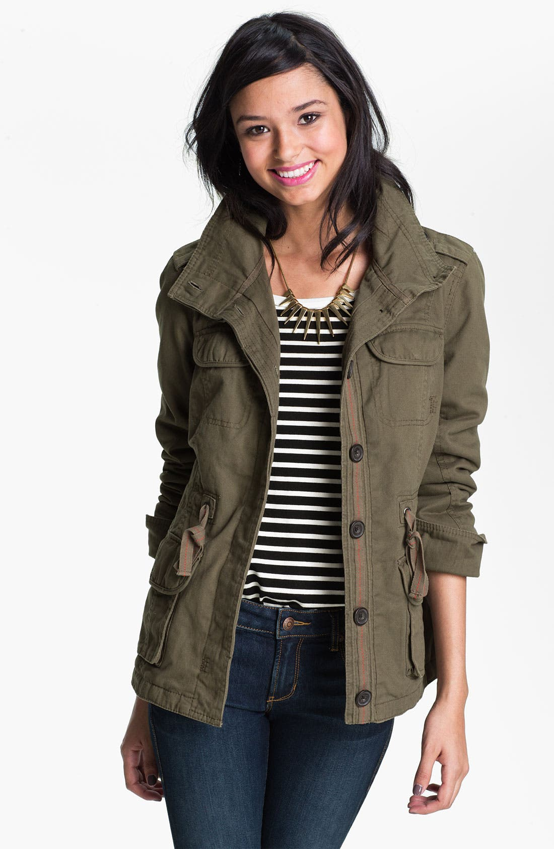Main Image - Coffee Shop Faux Shearling Lined Anorak (Juniors)