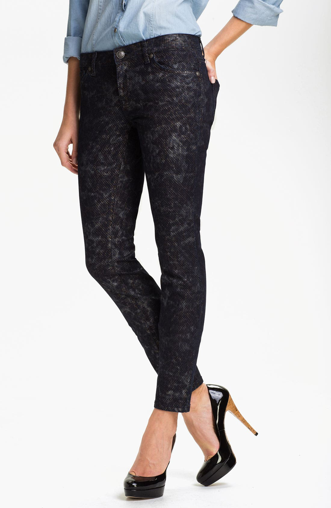 Alternate Image 1 Selected - Jessica Simpson 'Forever' Snakeskin Print Skinny Jeans (Online Exclusive)