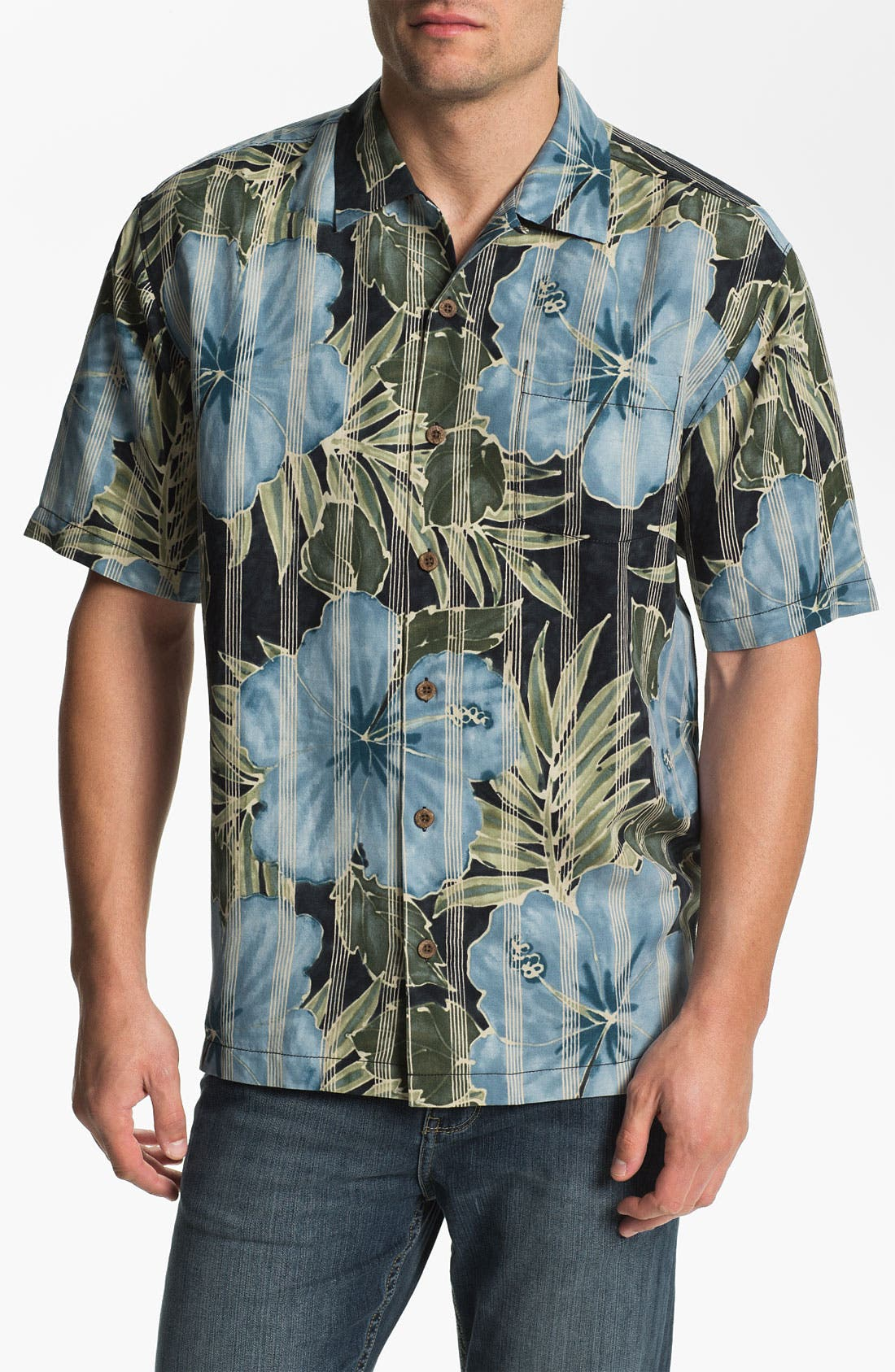 Alternate Image 1 Selected - Tommy Bahama 'Garden of Hope Courage' Linen & Silk Campshirt