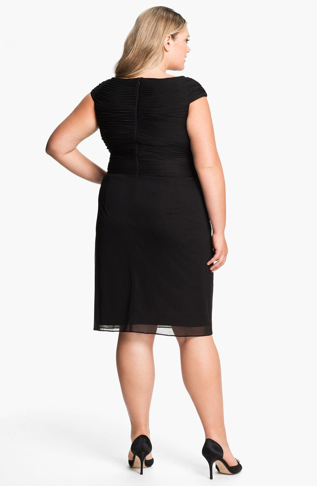 Alternate Image 2  - Adrianna Papell Twist Front Mesh Dress (Plus)