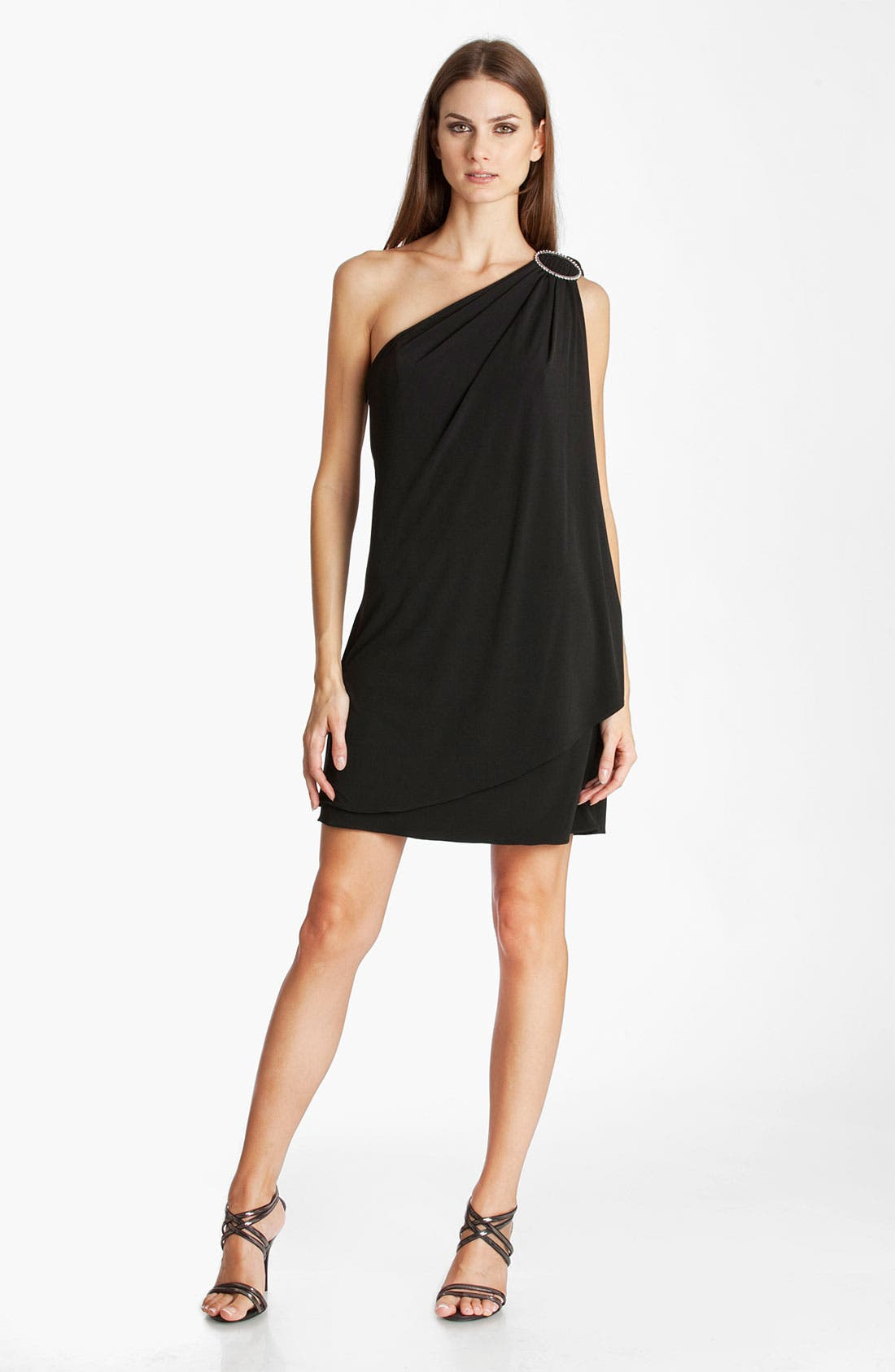 Main Image - JS Boutique One Shoulder Draped Jersey Dress