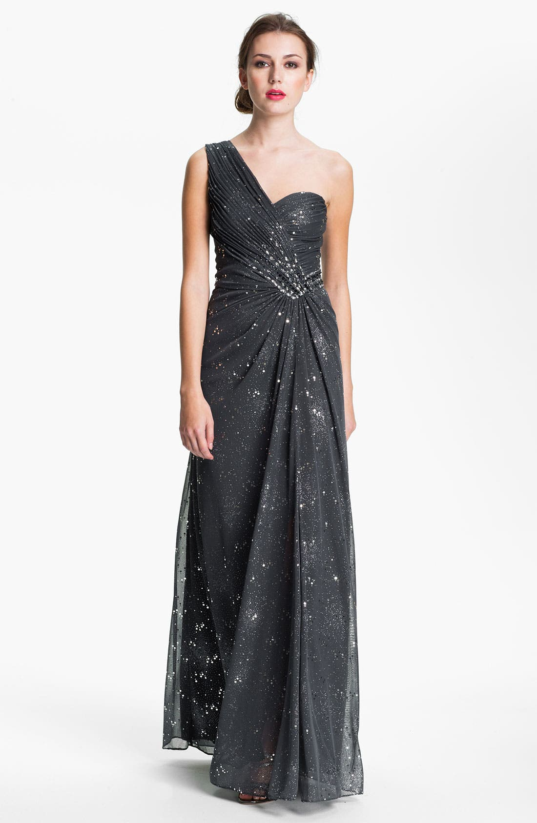 Main Image - Cachet One Shoulder Pleated & Embellished Gown