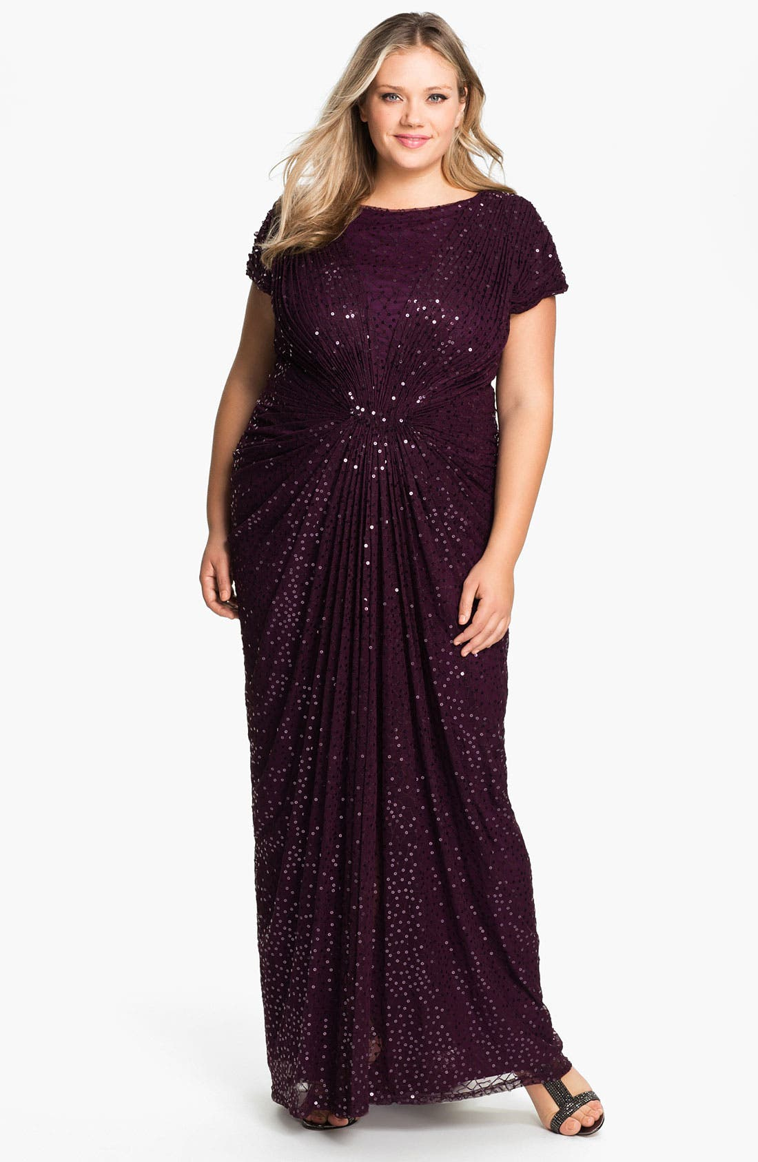 Alternate Image 1 Selected - Tadashi Shoji Beaded Pleated Gown (Plus Size)
