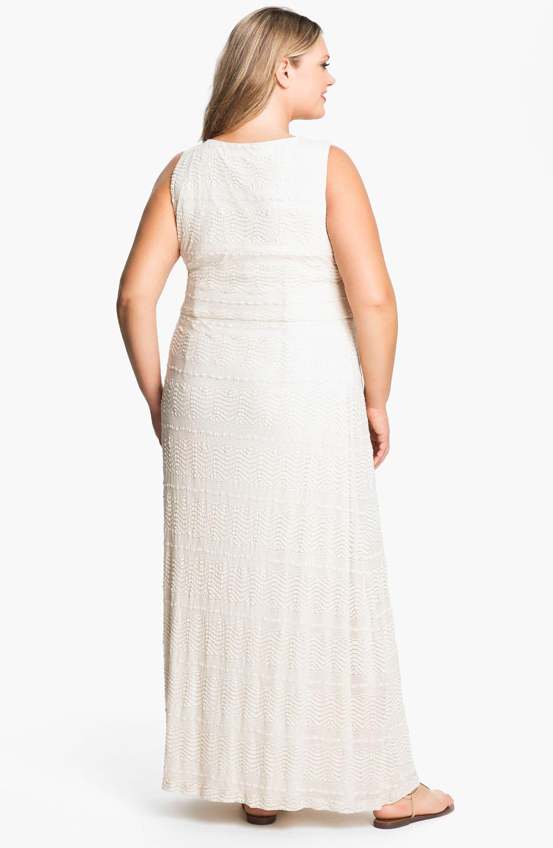 Alternate Image 2  - Donna Ricco Surplice Maxi Dress (Plus)