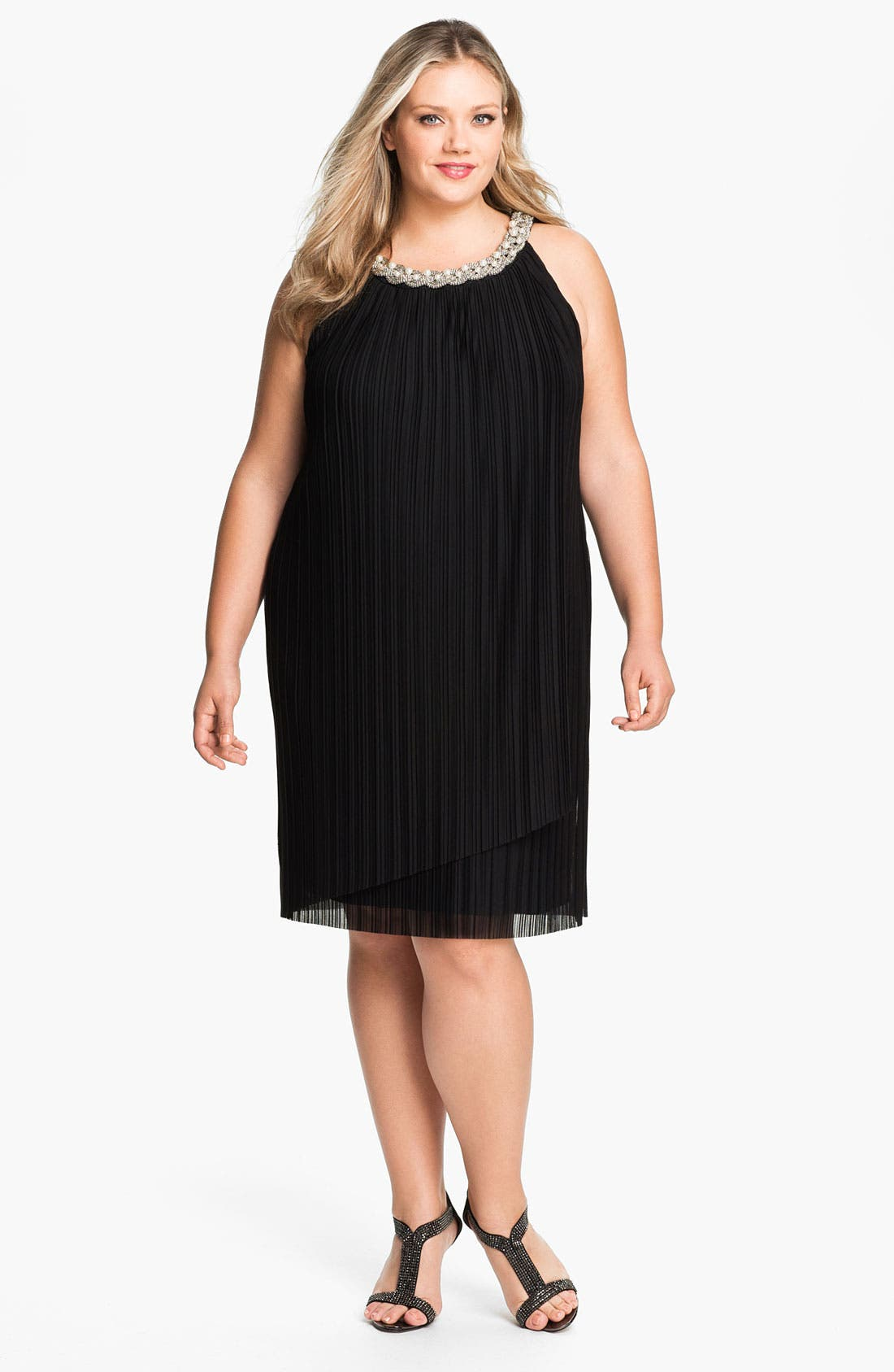 Main Image - Donna Ricco Embellished Pleat Mesh Shift Dress (Plus Size)