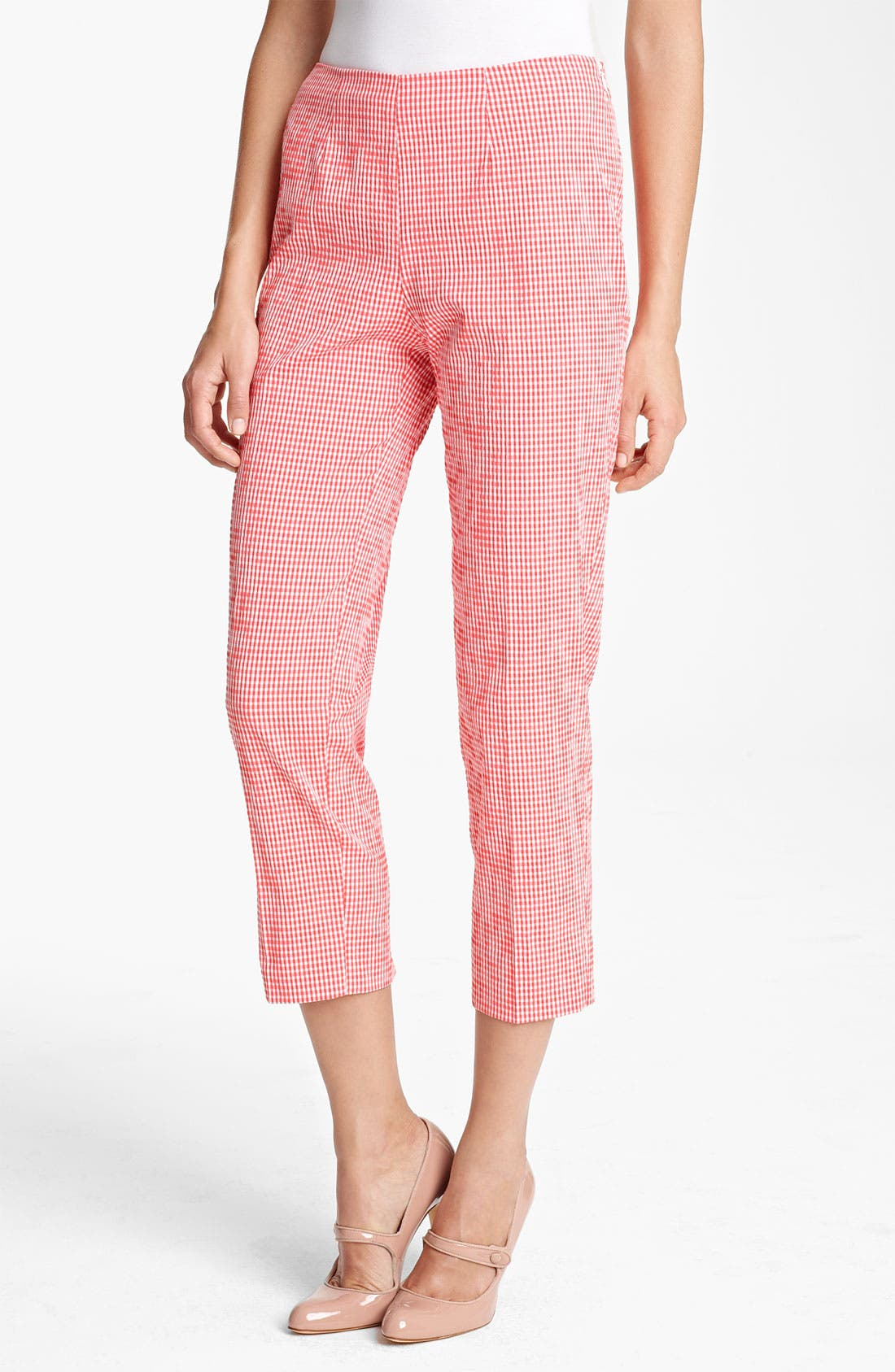 Alternate Image 1 Selected - Piazza Sempione 'Audrey' Gingham Stretch Cotton Pants