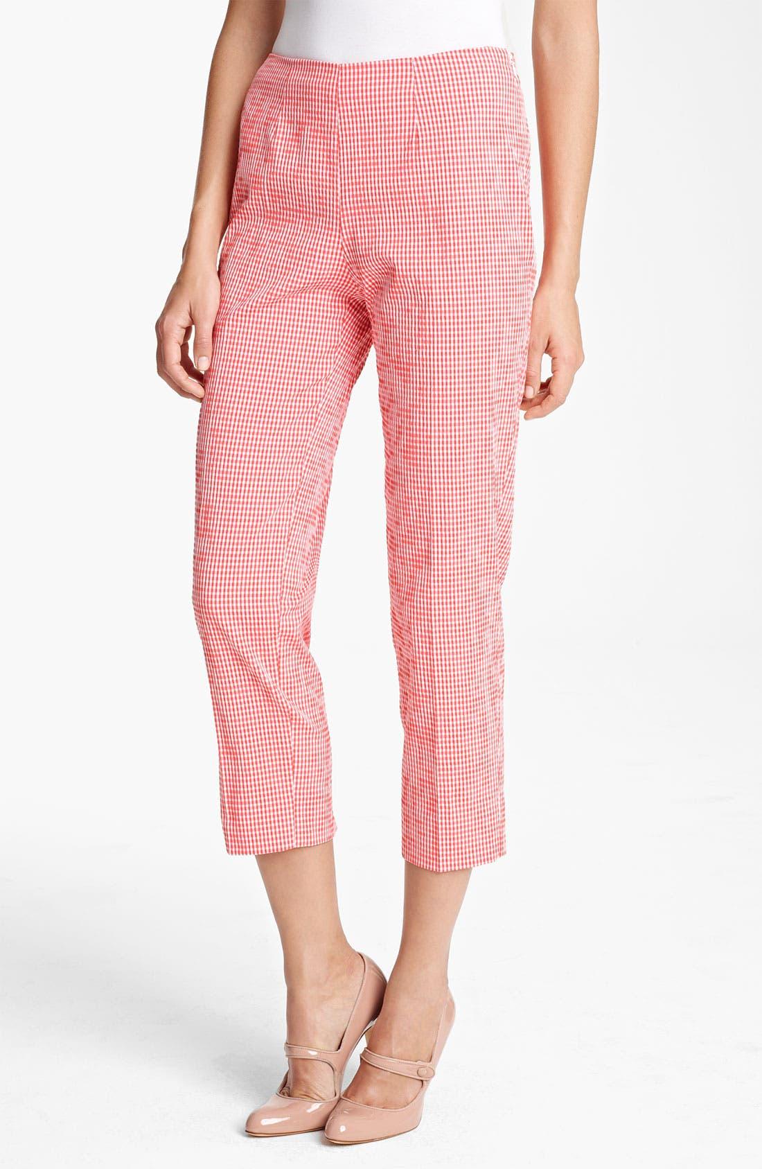 Main Image - Piazza Sempione 'Audrey' Gingham Stretch Cotton Pants