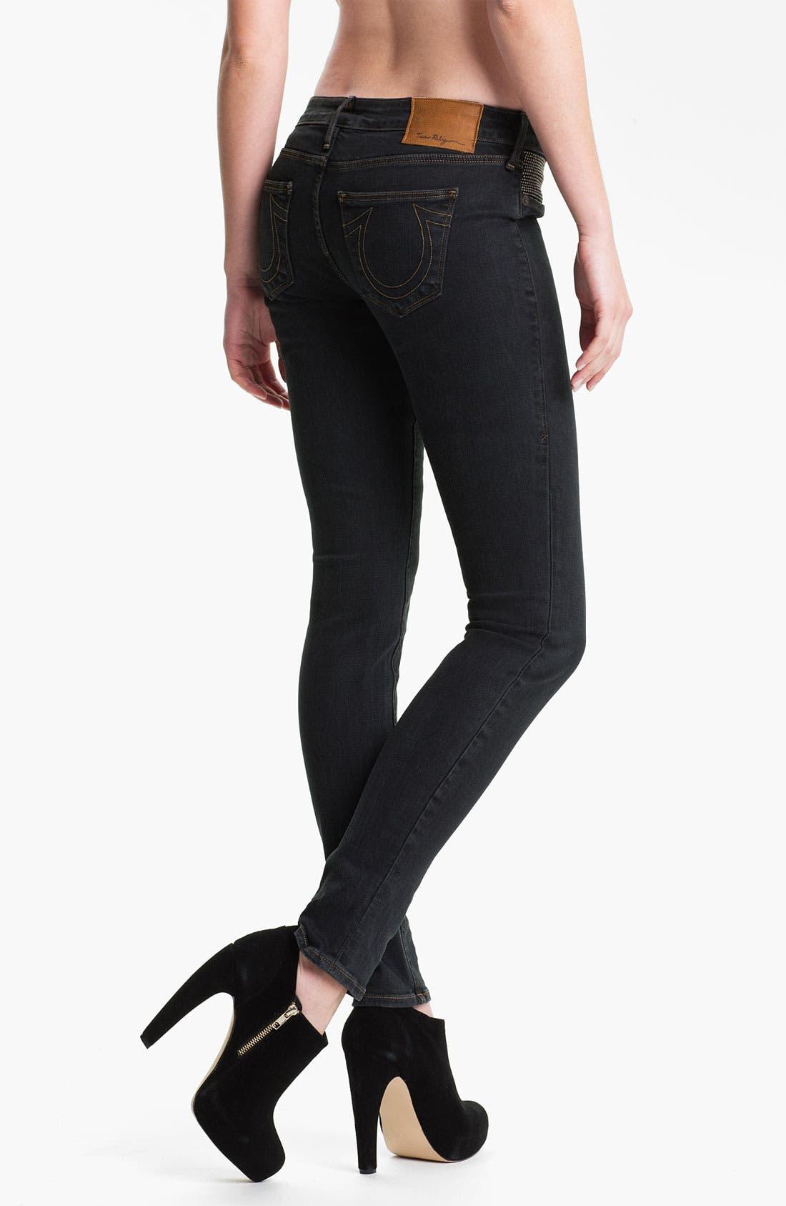 Alternate Image 2  - True Religion Brand Jeans 'Shannon' Studded Pocket Skinny Jeans (Black Stone)