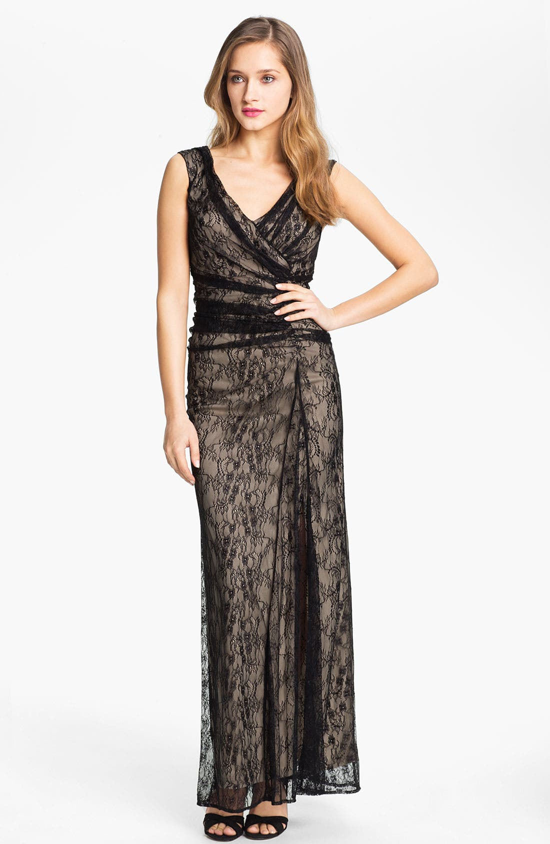 Main Image - Wyton V-Neck Ruched Lace Overlay Gown