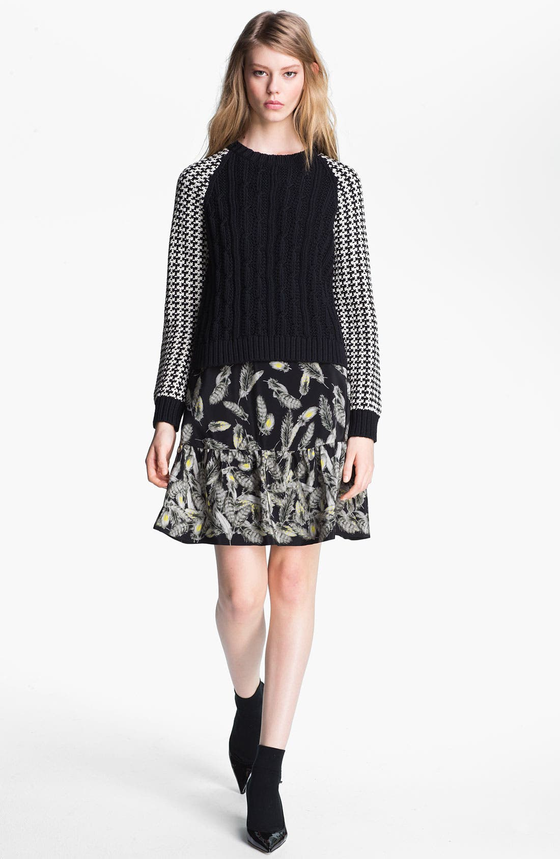 Main Image - Miss Wu Contrast Sleeve Sweater (Nordstrom Exclusive)