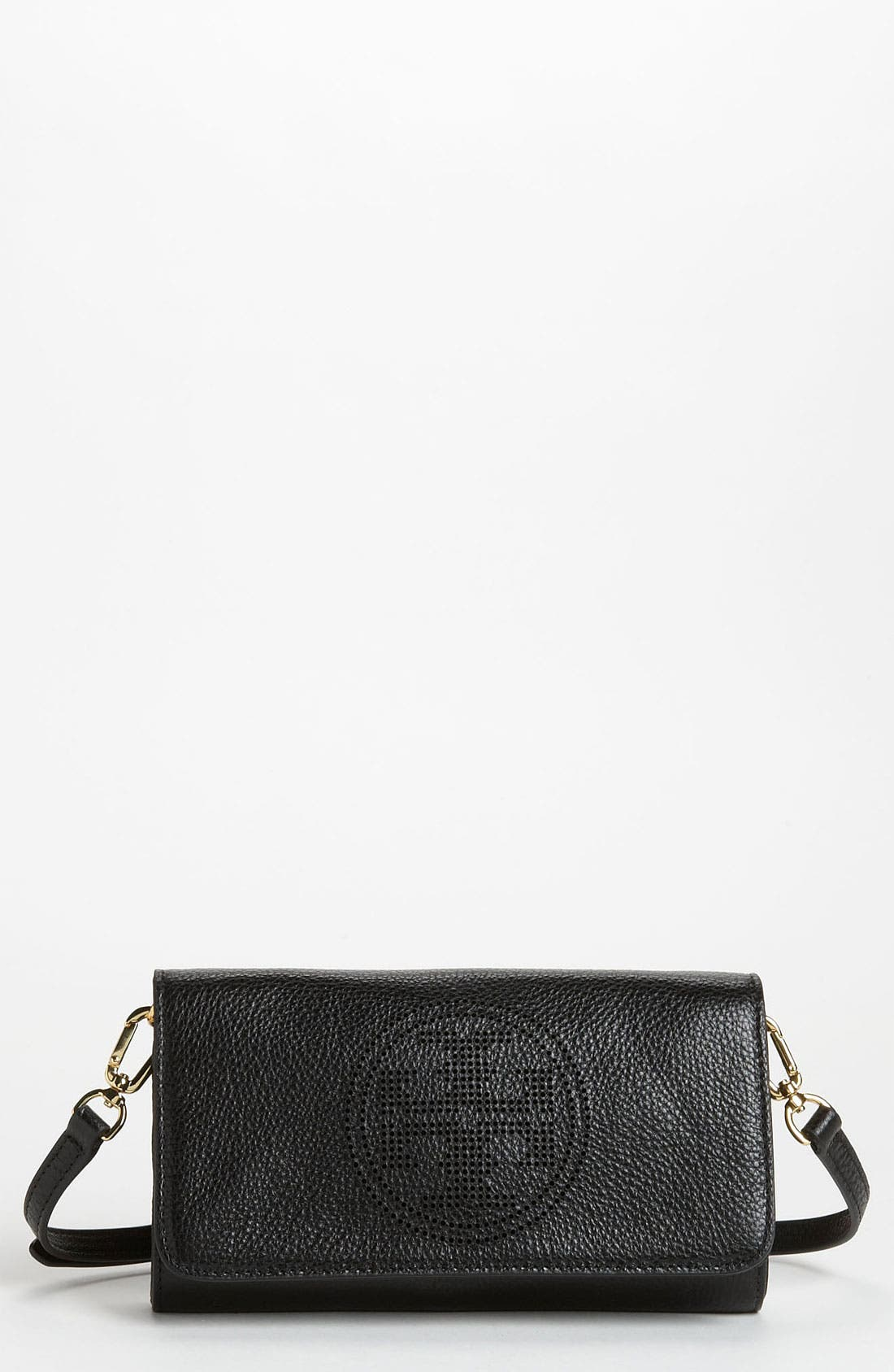 Main Image - Tory Burch 'Small' Perforated Logo Leather Clutch