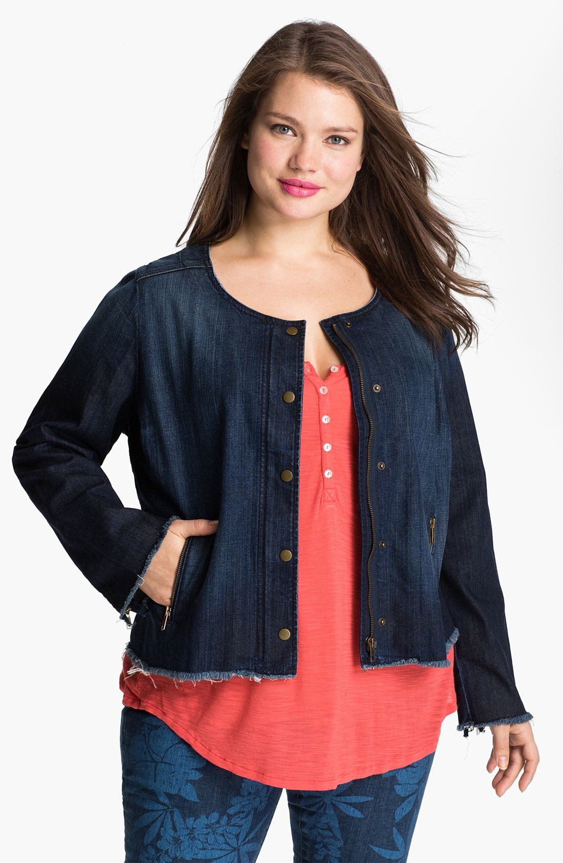 Alternate Image 1 Selected - Lucky Brand 'Adamson' Cropped Denim Jacket (Plus)