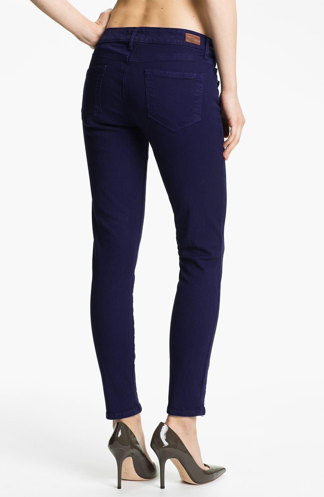 Alternate Image 2  - Paige Denim Ankle Zip Skinny Jeans (Pacific Dusk)