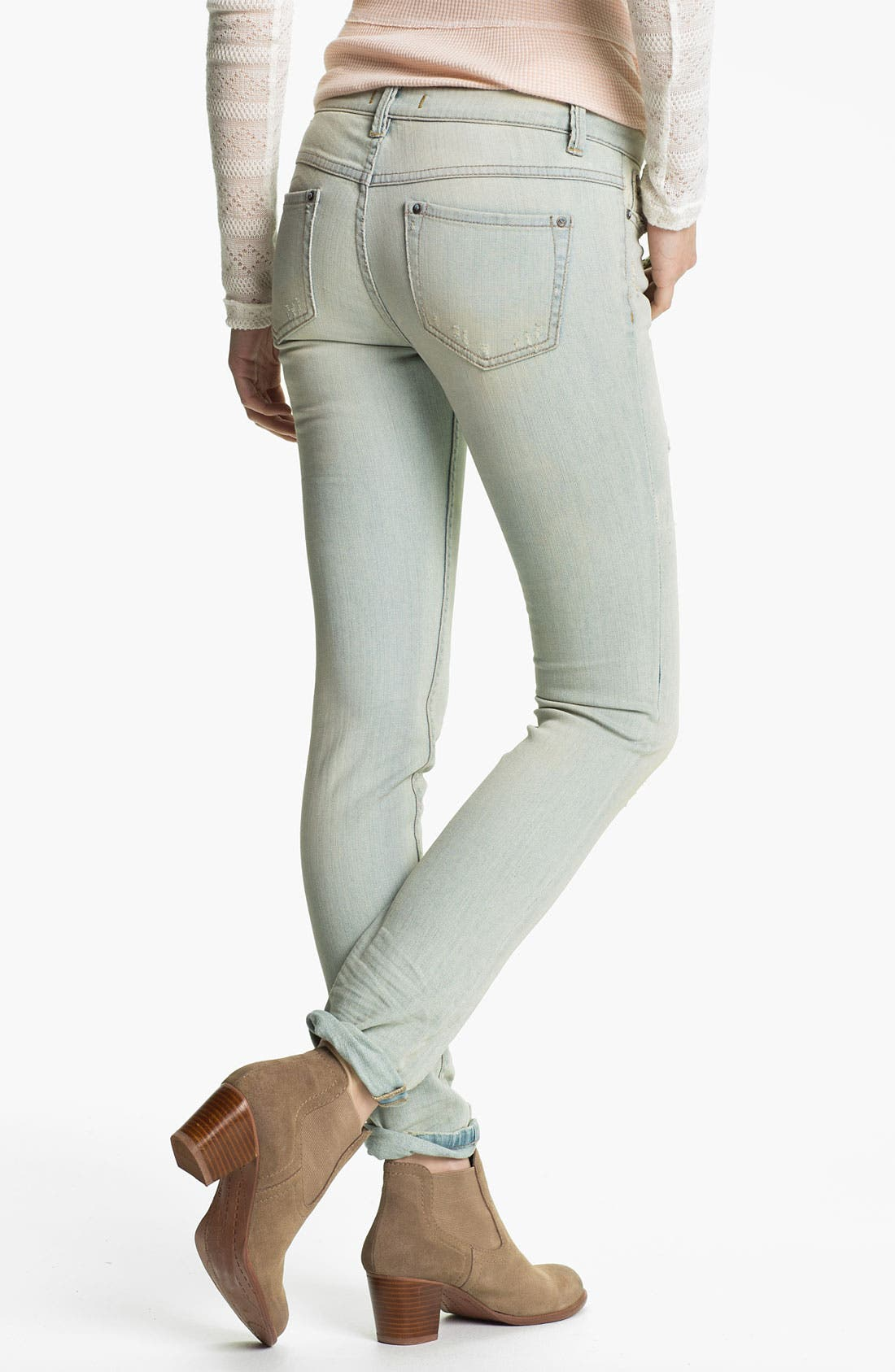 Alternate Image 2  - Free People Destroyed Skinny Stretch Jeans (Palm Indigo)