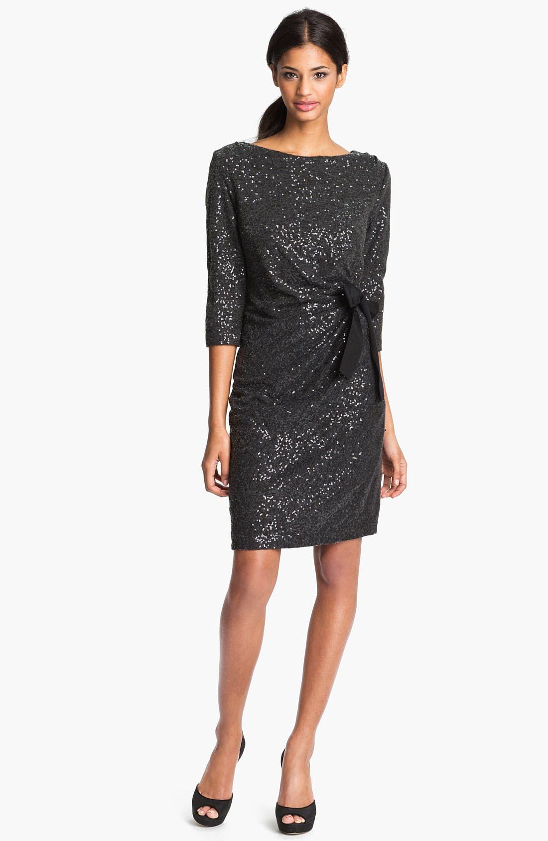 Alternate Image 1 Selected - Taylor Dresses Side Tie Sequin Sweater Dress