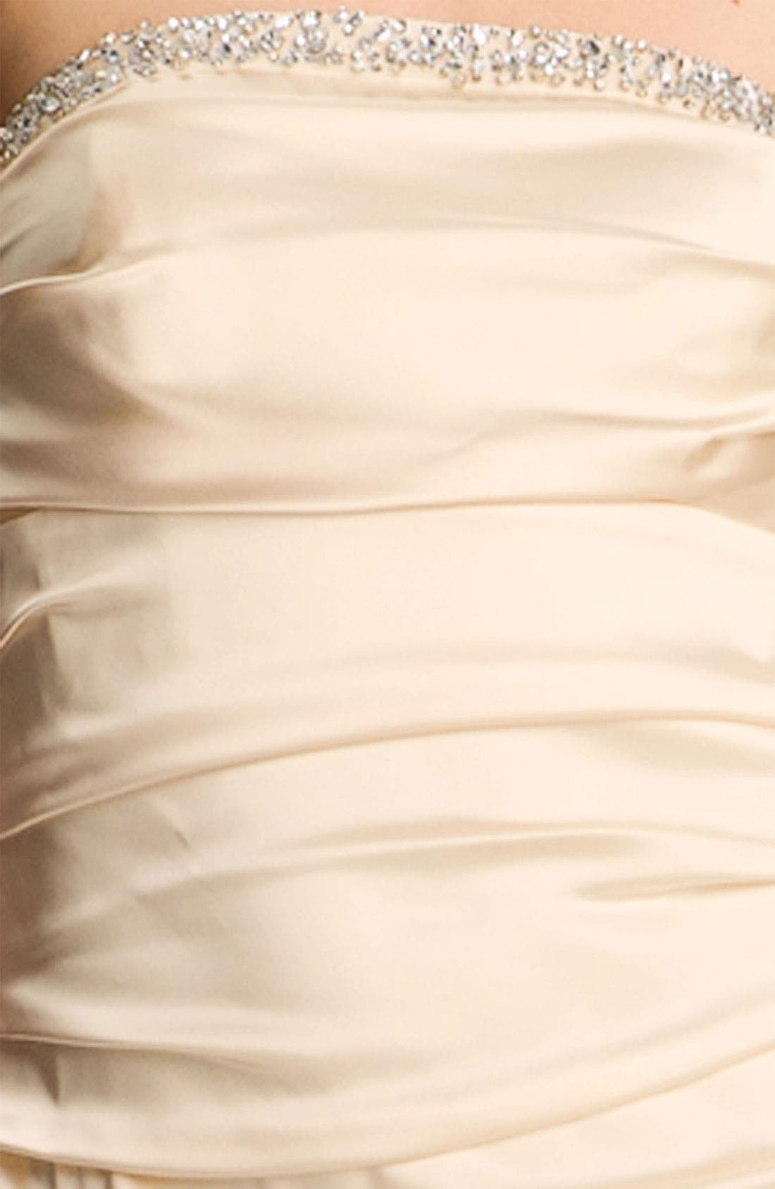 Alternate Image 3  - Suzi Chin for Maggy Boutique Ruched Strapless Satin Gown