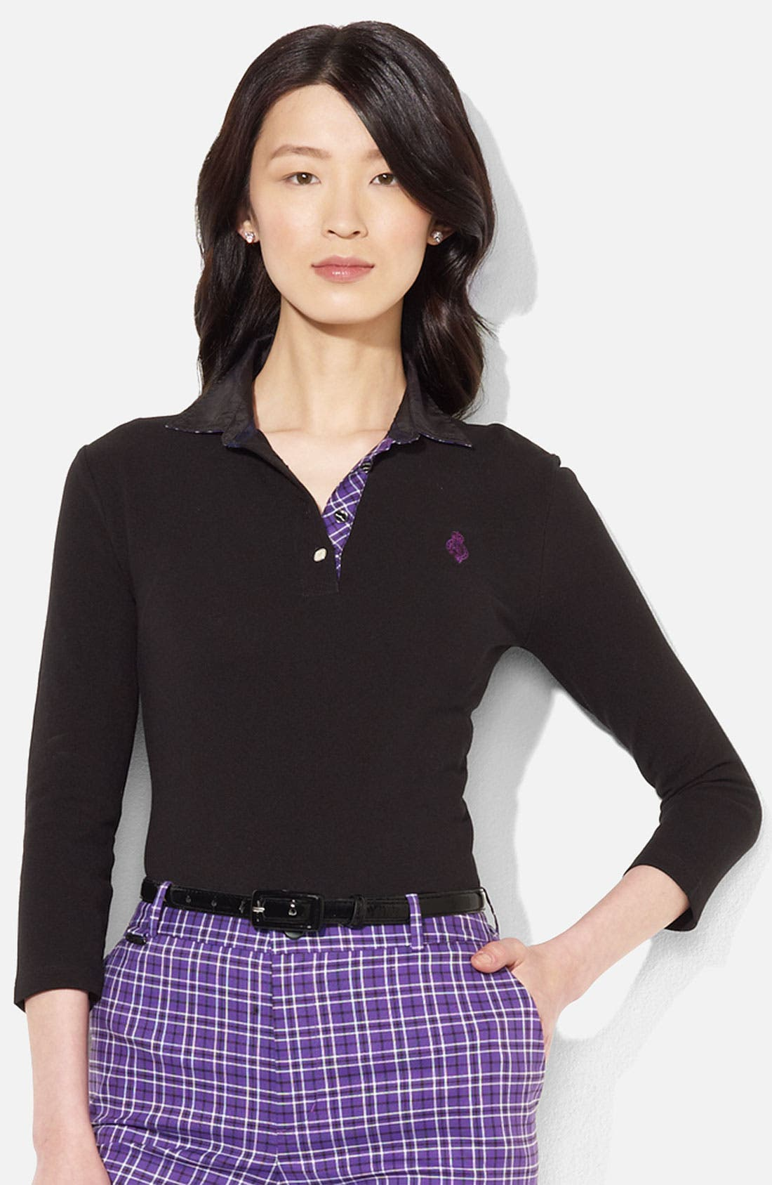 Main Image - Lauren Ralph Lauren Plaid Trim Polo (Petite) (Online Exclusive)