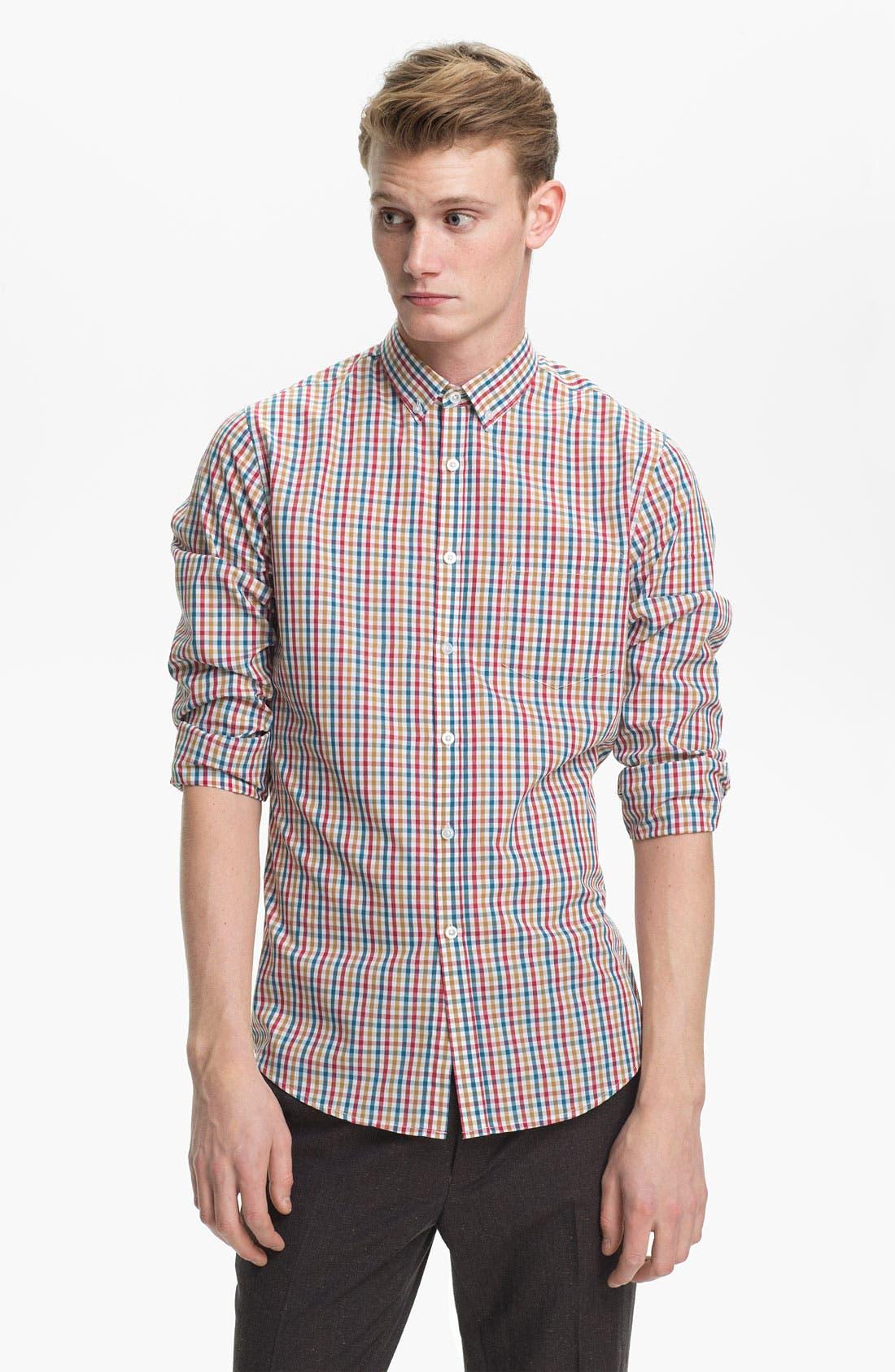 Alternate Image 1 Selected - Topman Gingham Woven Shirt