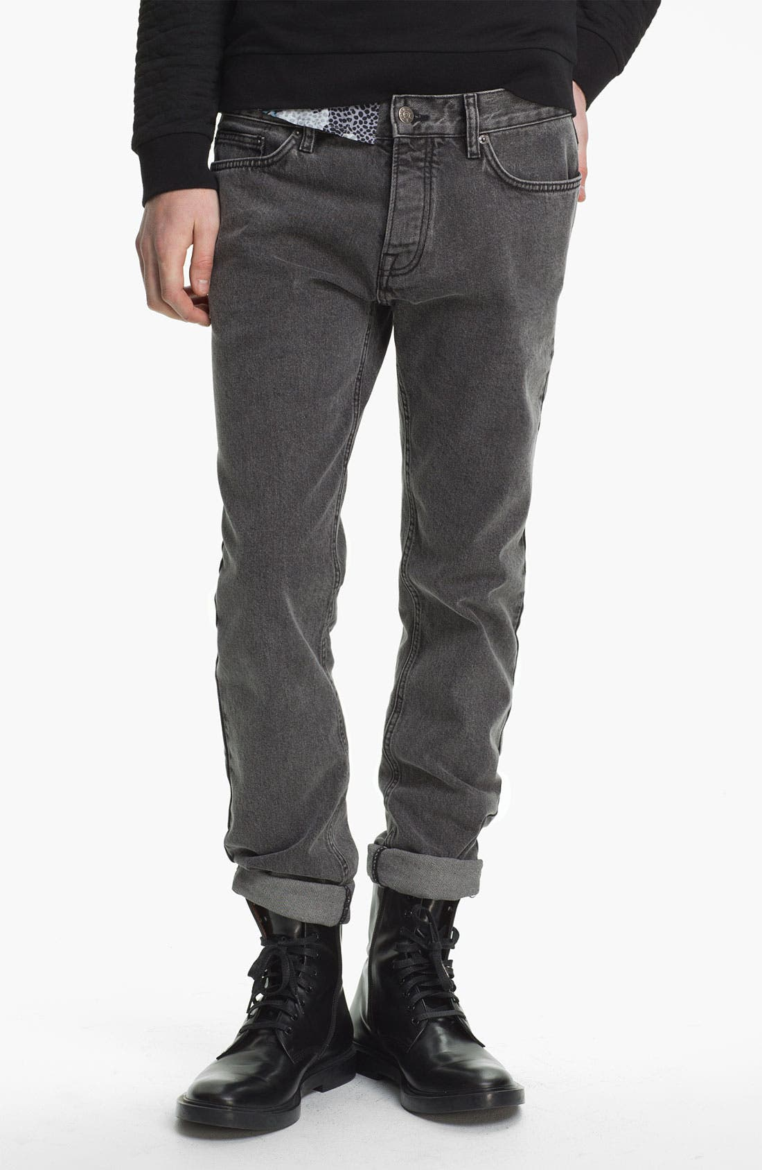 Alternate Image 2  - Topman Studded Skinny Fit Jeans