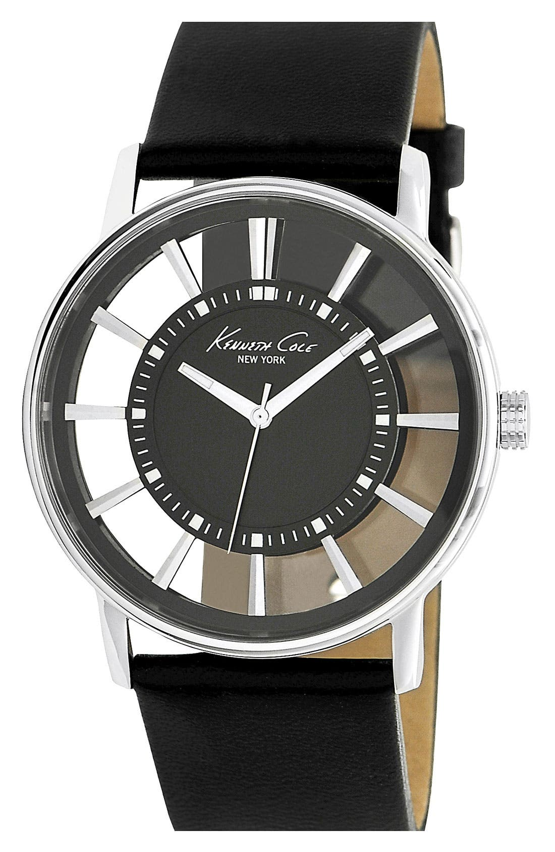 Alternate Image 1 Selected - ROUND TRANSPARENT DIAL WATCH W/ LEATHER STRAP