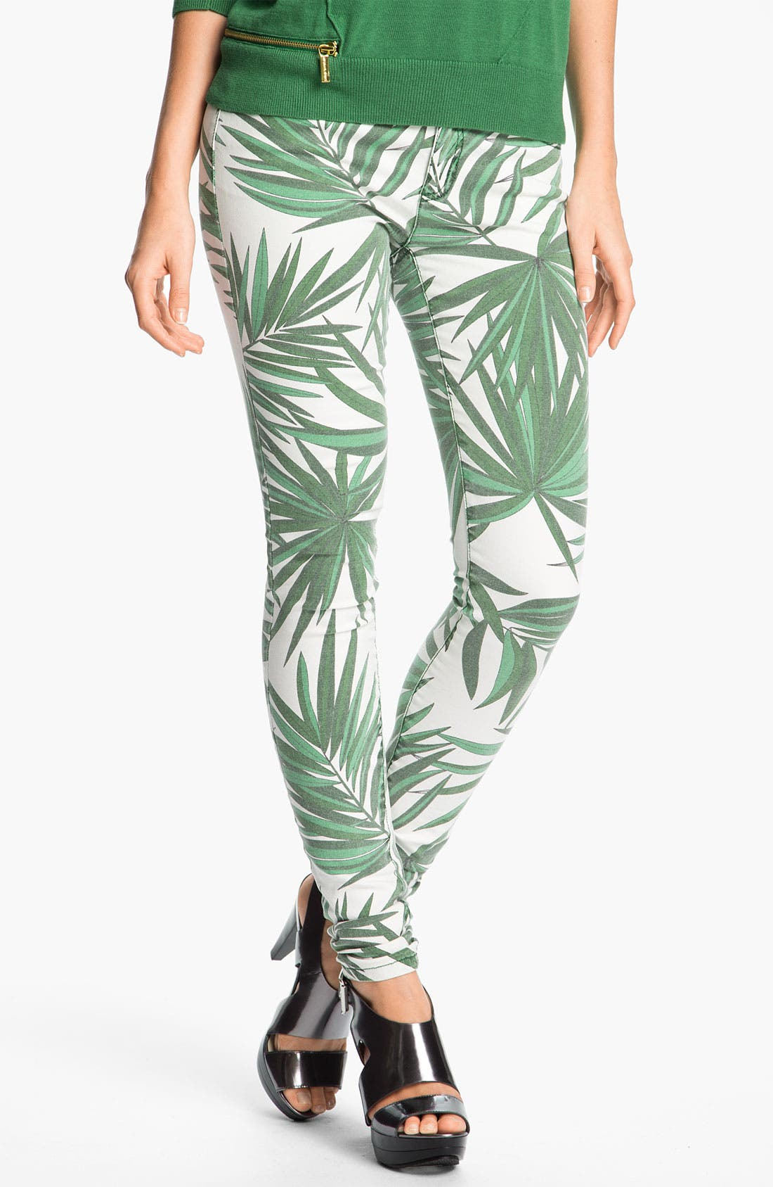 Alternate Image 1 Selected - MICHAEL Michael Kors 'Tropical Palm' Skinny Jeans (Petite)