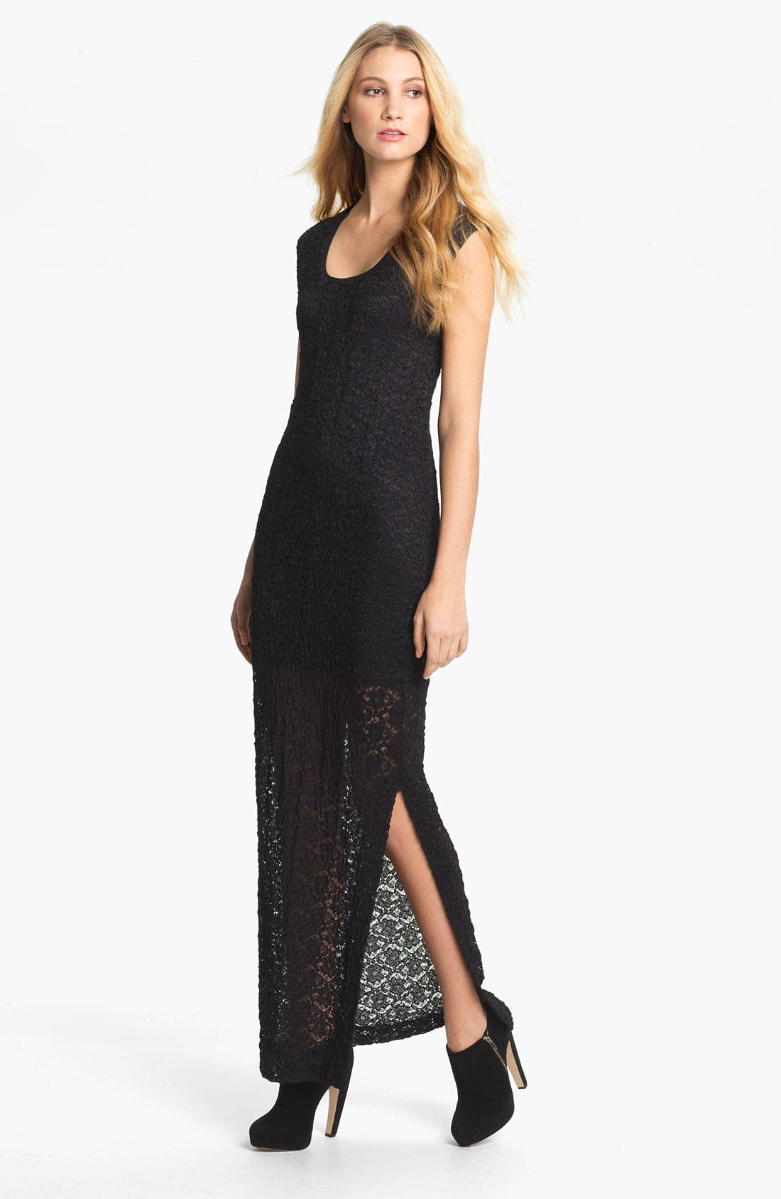 Main Image - Nicole Miller Textured Lace Maxi Dress