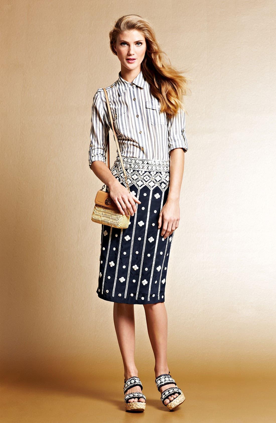 Main Image - Tory Burch Shirt & Sequin Skirt