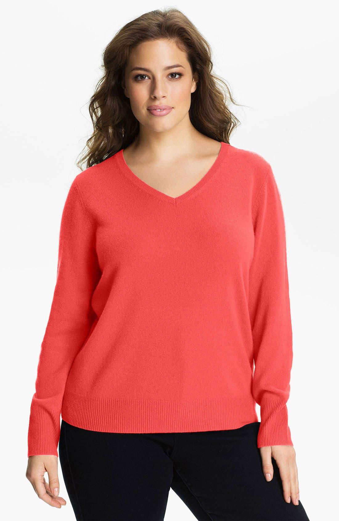 Alternate Image 1 Selected - Halogen® V-Neck Cashmere Sweater (Plus)