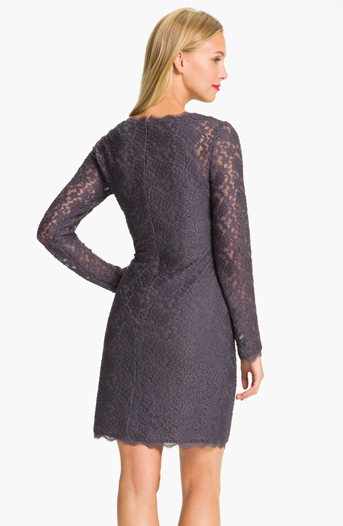 Alternate Image 2  - Adrianna Papell Lace Overlay Sheath Dress (Petite)