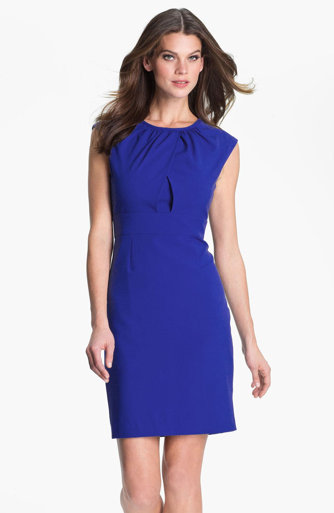 Alternate Image 1 Selected - Calvin Klein Shirred Neck Cap Sleeve Sheath Dress