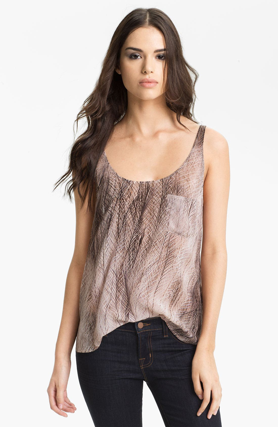 Alternate Image 1 Selected - Haute Hippie Print Silk Boyfriend Tank