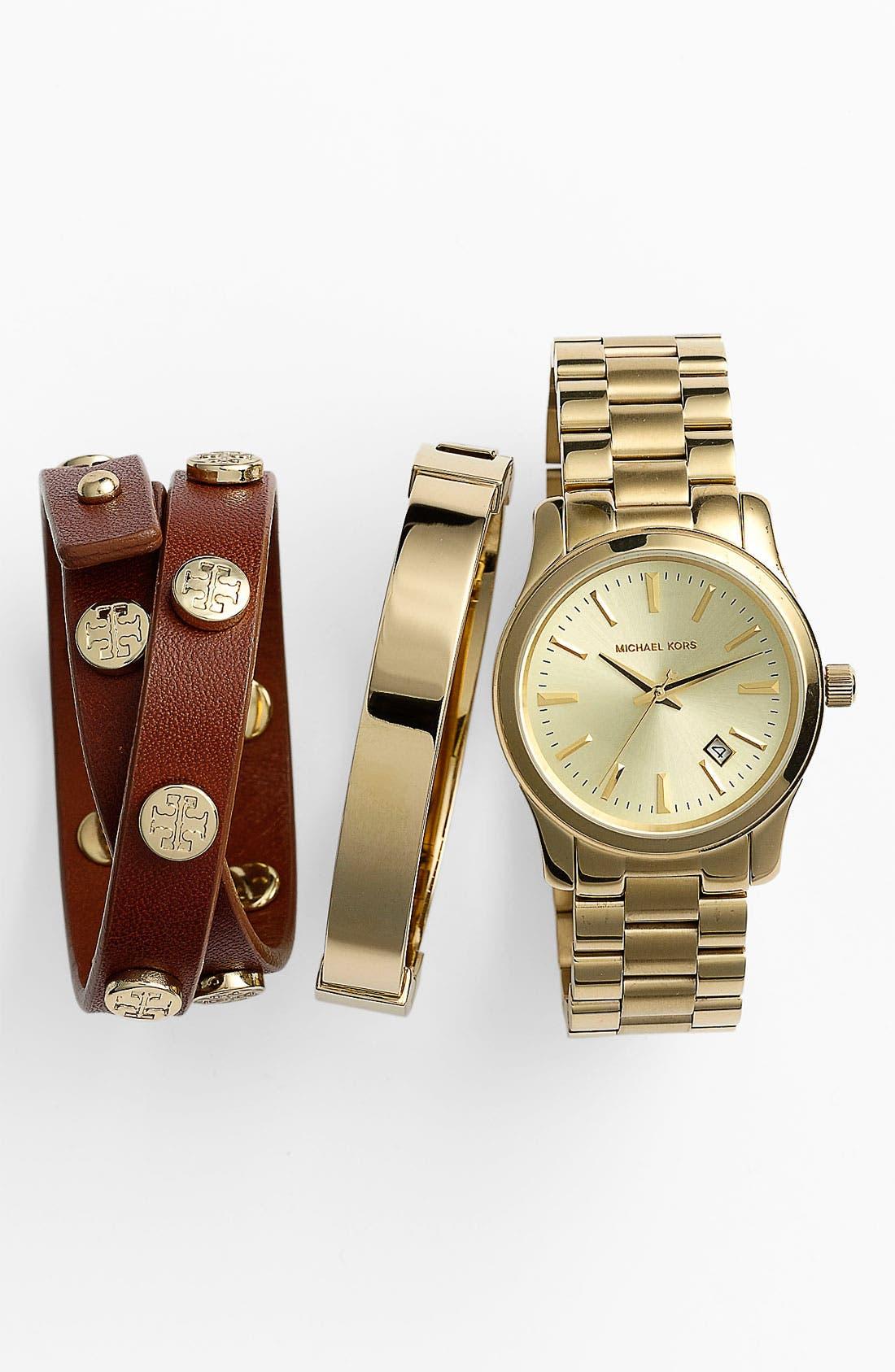 Alternate Image 1 Selected - Michael Kors Watch & Tory Burch Bracelet