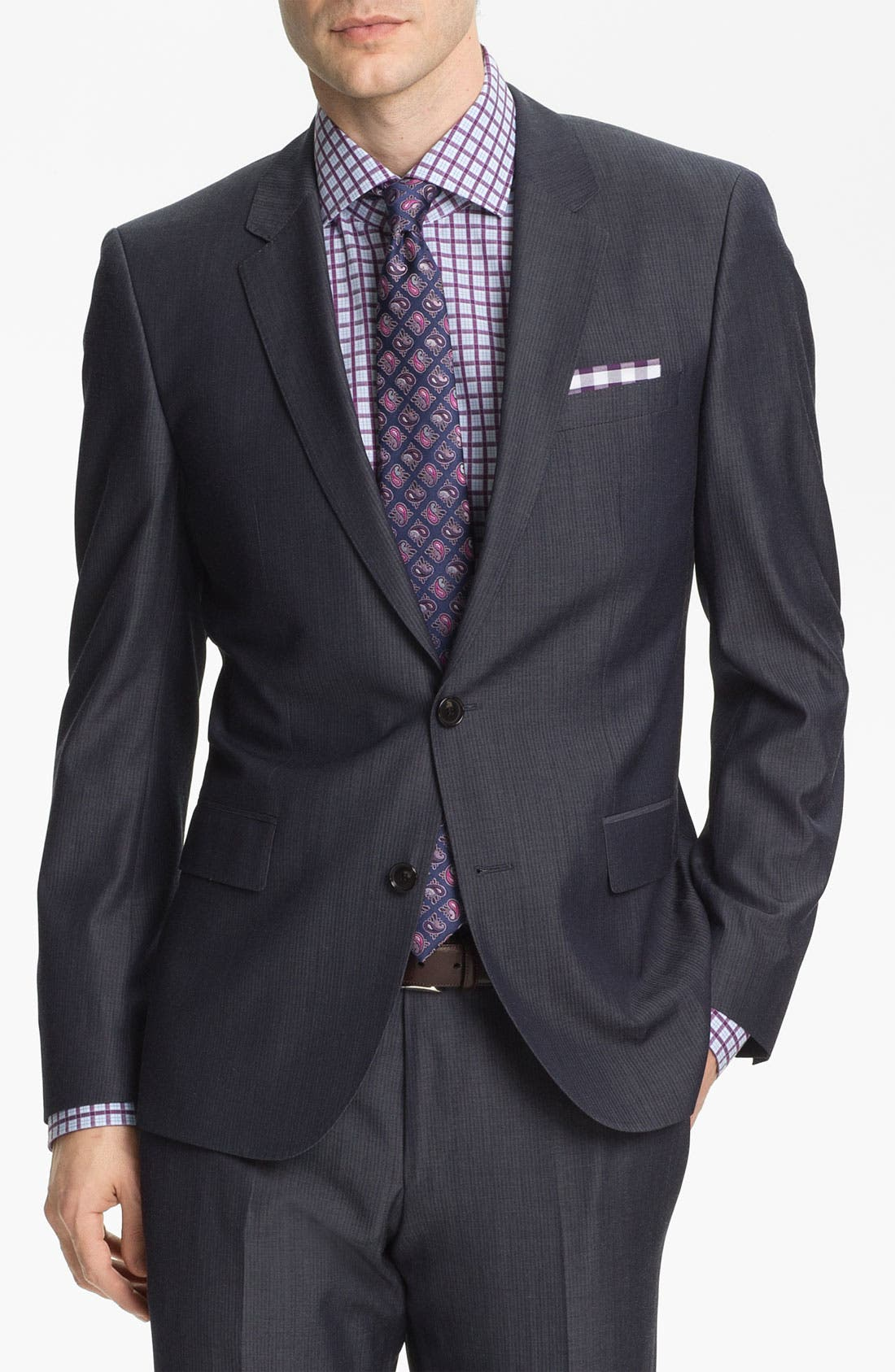 Alternate Image 1 Selected - BOSS Black 'Huge/Genius' Trim Fit Stripe Suit