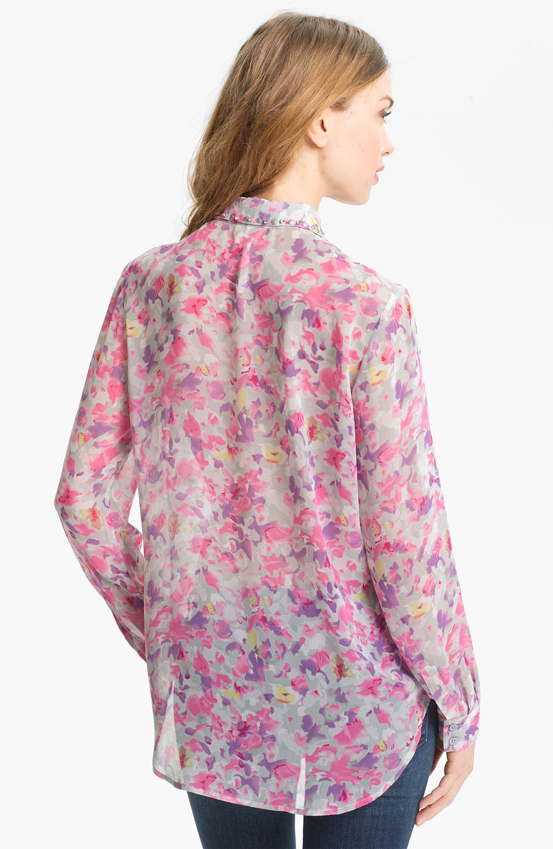 Alternate Image 2  - Bellatrix Embellished Collar Print Chiffon Shirt