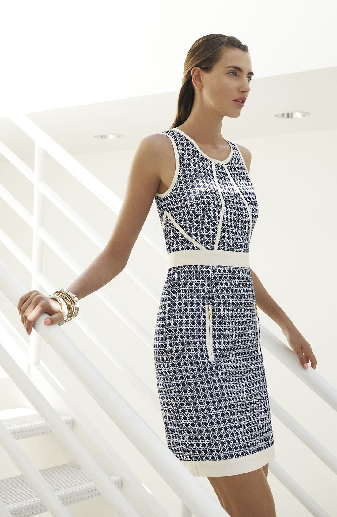 Alternate Image 4  - Laundry by Shelli Segal Embellished Jacquard Sheath Dress