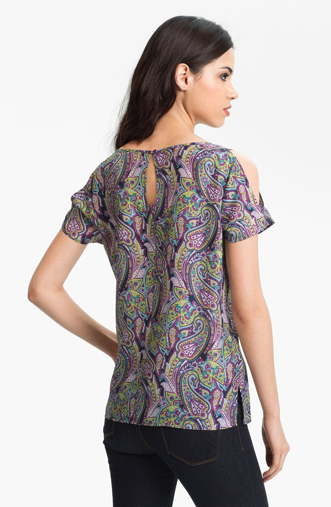 Alternate Image 2  - Hinge® Split Shoulder Paisley Silk Top