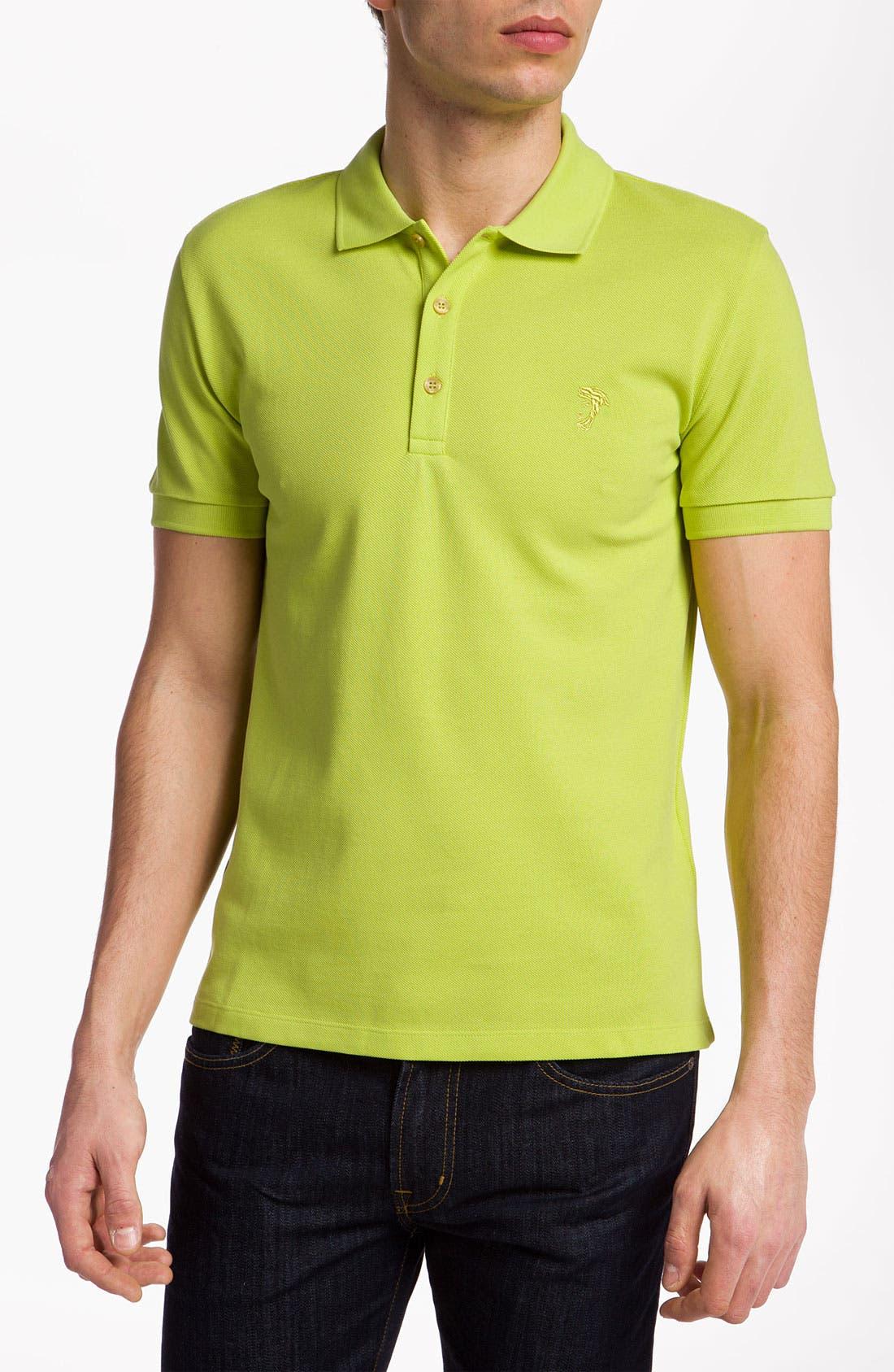 Alternate Image 1 Selected - Versace Short Sleeve Piqué Polo