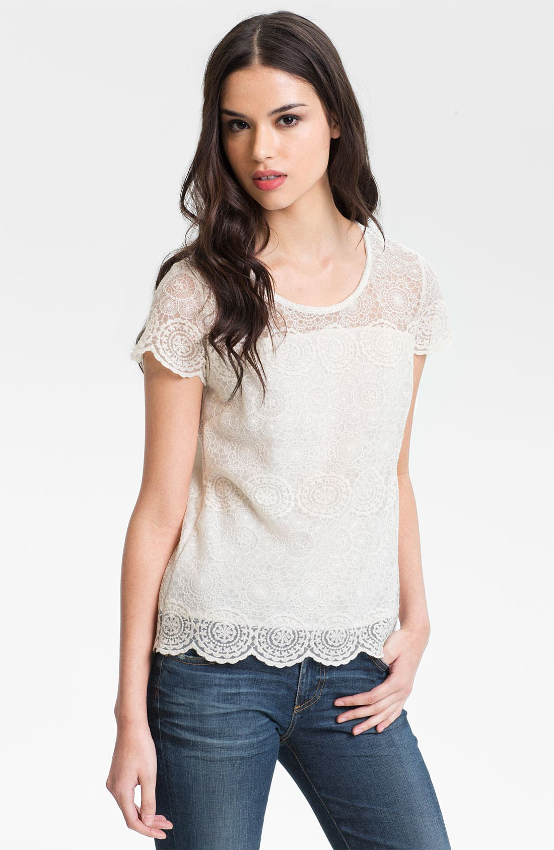 Alternate Image 1 Selected - AG Jeans Vintage Lace Tee