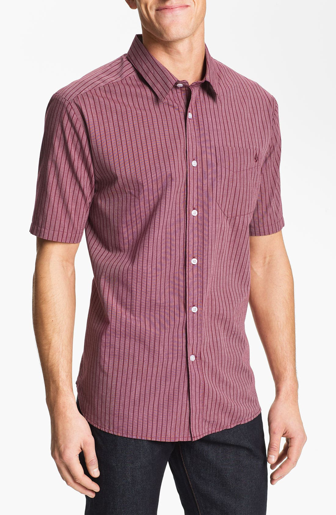 Alternate Image 1 Selected - Volcom 'Why Factor' Stripe Woven Shirt