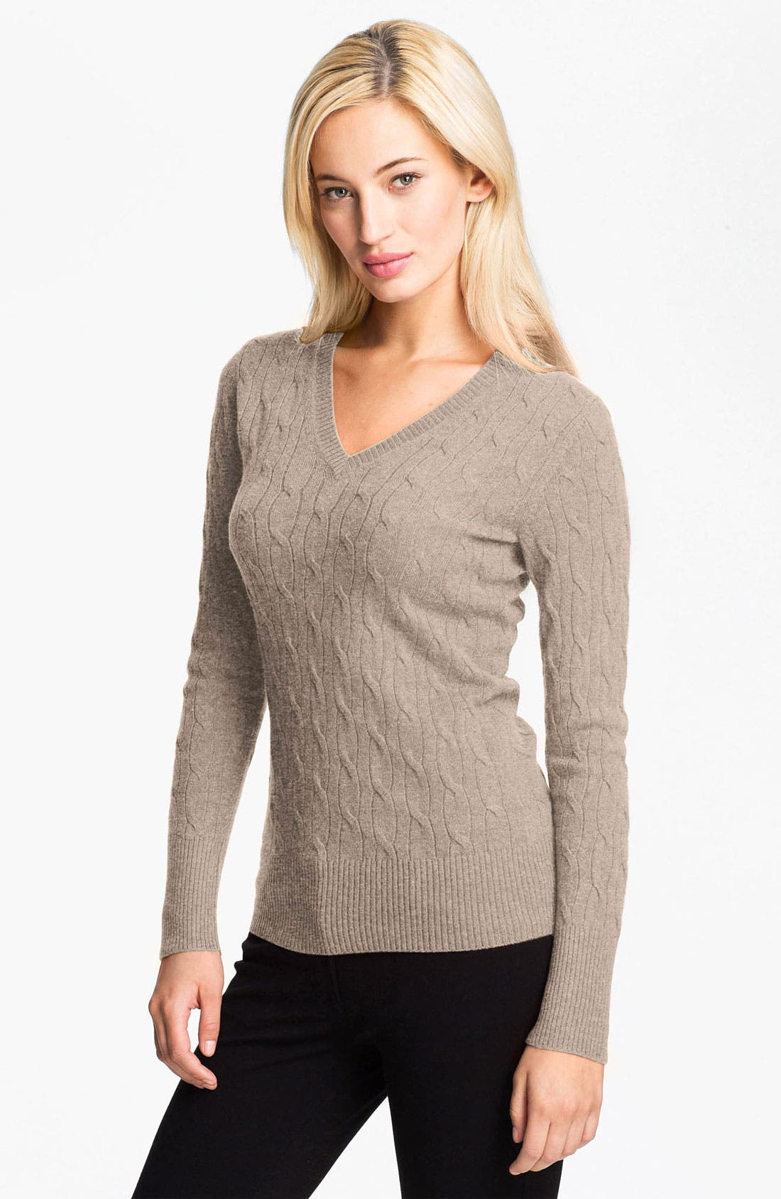 Alternate Image 1 Selected - Christopher Fischer 'Elisa' Cable Cashmere Sweater (Online Exclusive)