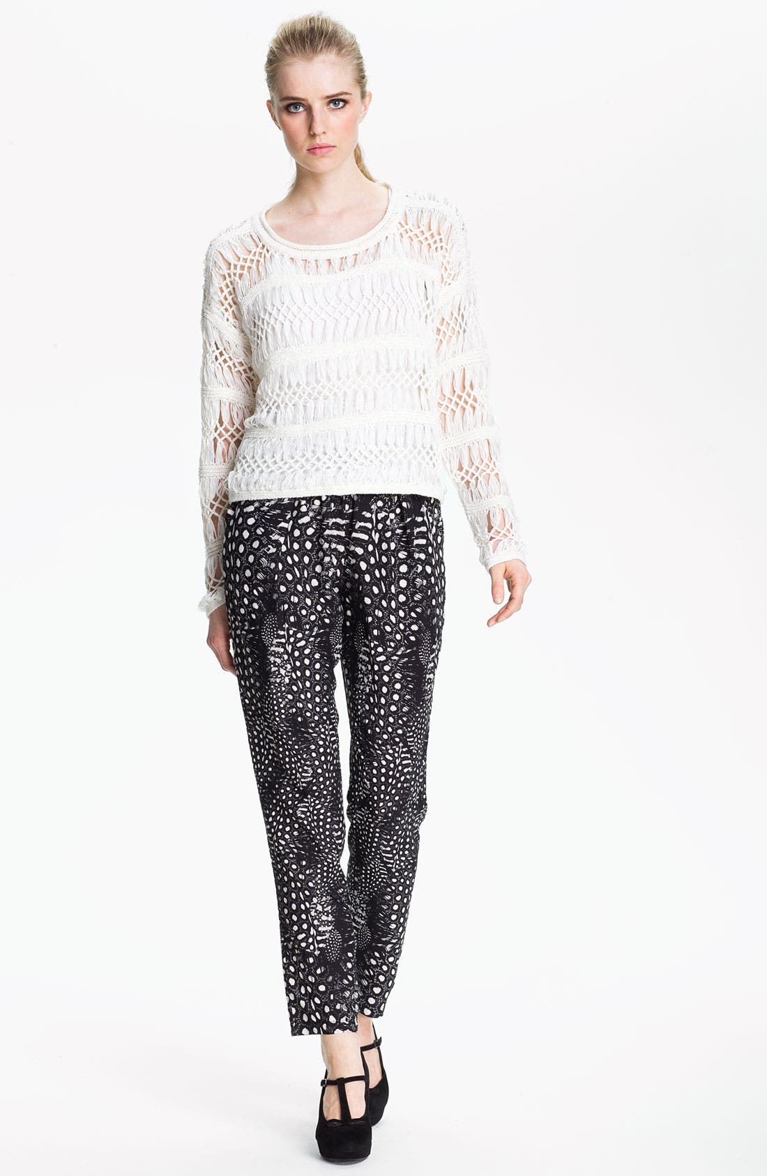 Alternate Image 5  - Cut25 Feather & Dot Print Pants